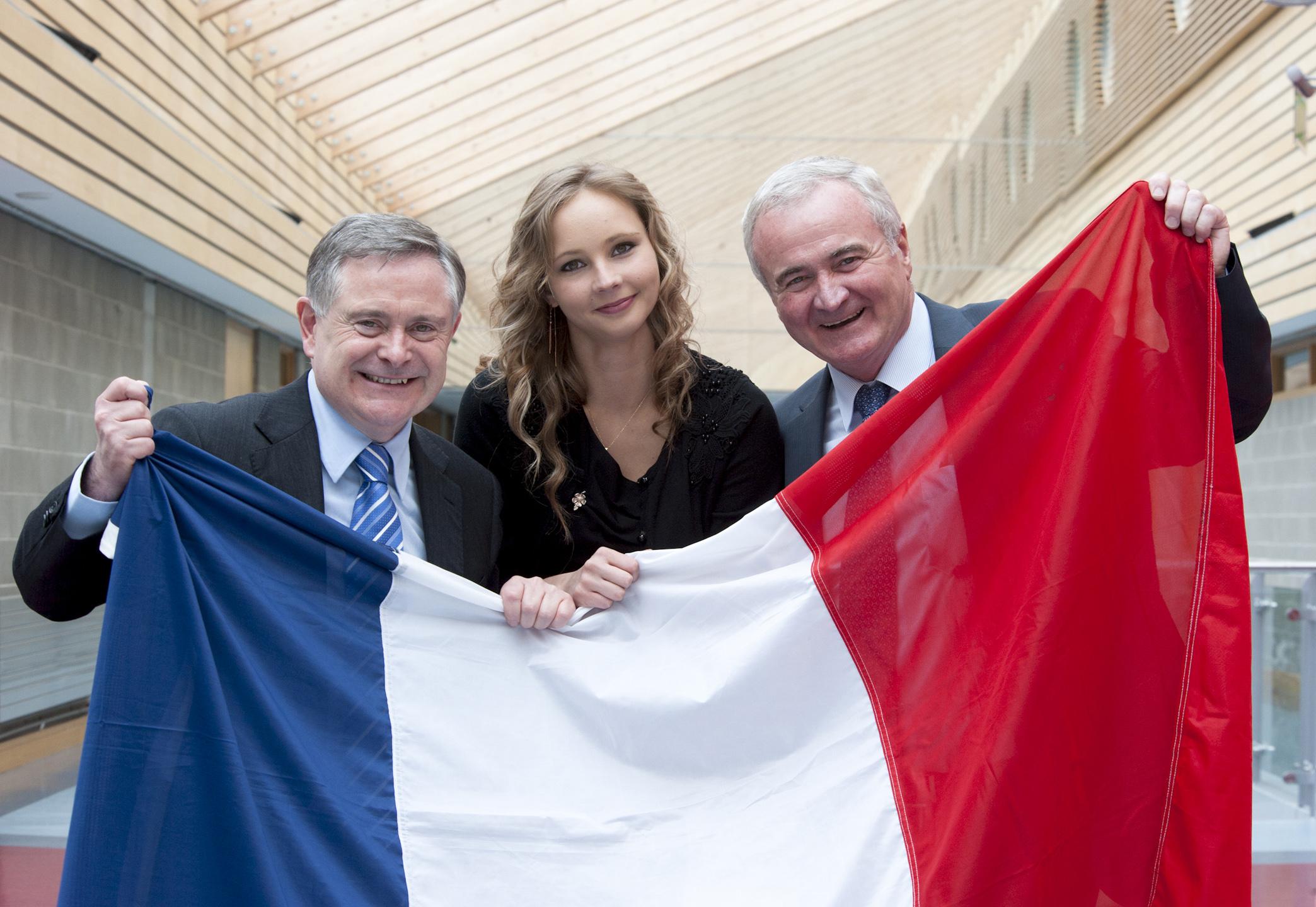 Mr Brendan Howlin, TD, Minister for Public Expenditure and Reform; student Liene Korsiete, The Moyne, Enniscorthy, and Mr. Yanni