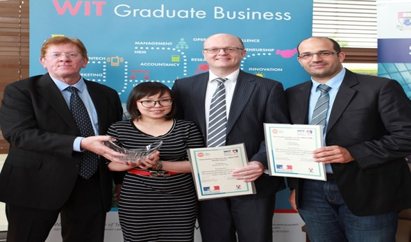 Mr Declan Cahill (MBS Internationalisation Programme Director), Eileen Yan Yee Tan (MBS Internationalisation) receiving awards for 'Outstanding Student Awards' for their studies on the Double Degree programme between WIT and Brest Business School France , Dr. Tom O' Toole (Dean of WIT Business School) and Dr. Yamen Koubaa (MSc International Business Programme Director at Brest Business School, Fra