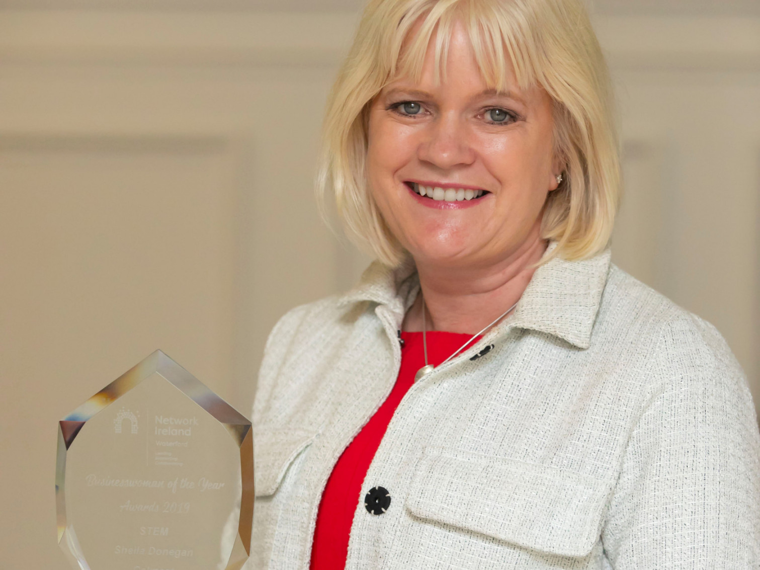 Dr Sheila Donegan receiving the  Network Ireland Waterford region Women in Business STEM award which led to representing Waterford in the Network Ireland National Business Awards