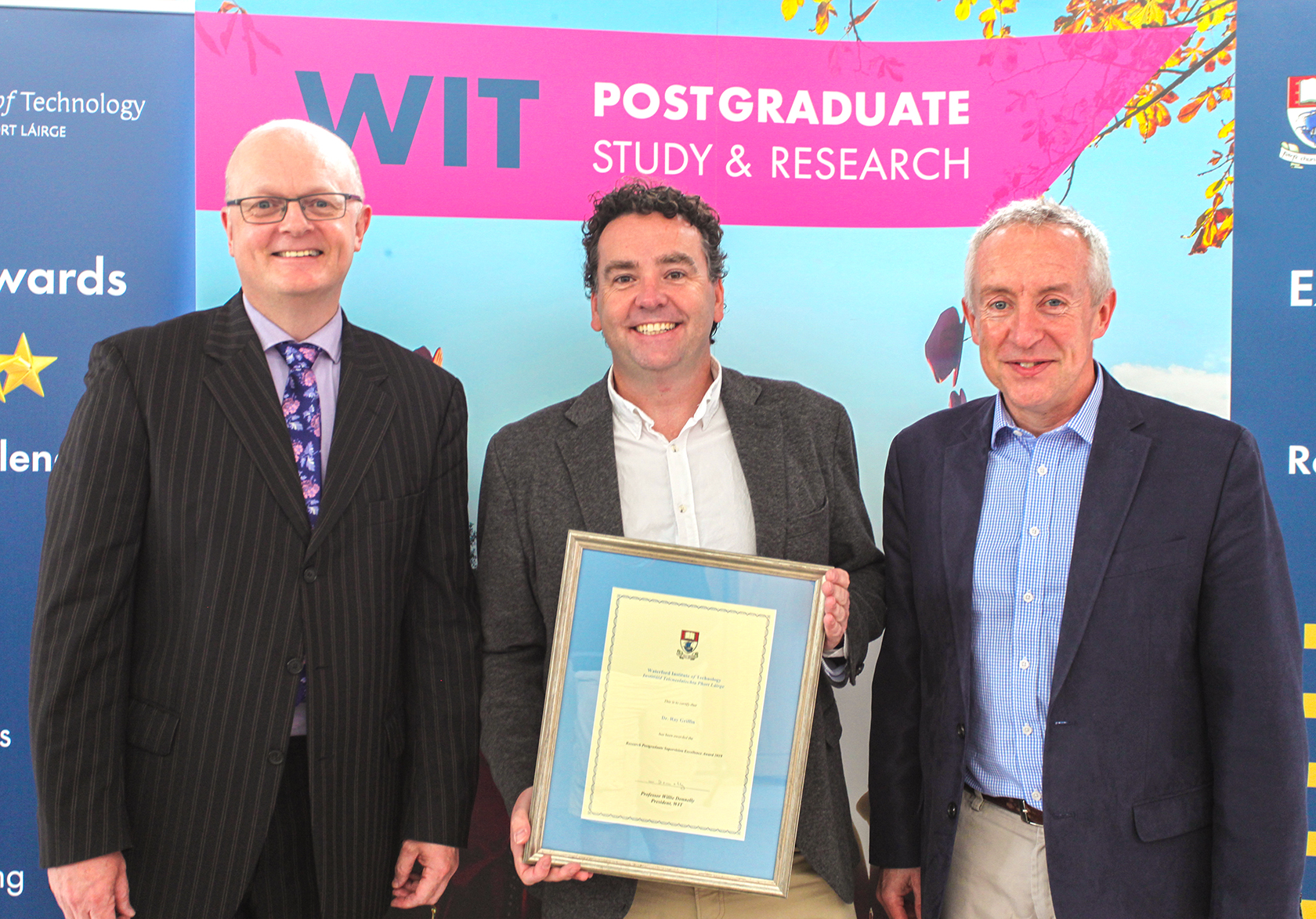 Pictured from left are Dr Thomas O'Toole, Head of the School of Business; Dr Ray Griffin and Prof Denis Harrington, Head of the Department of Graduate Business