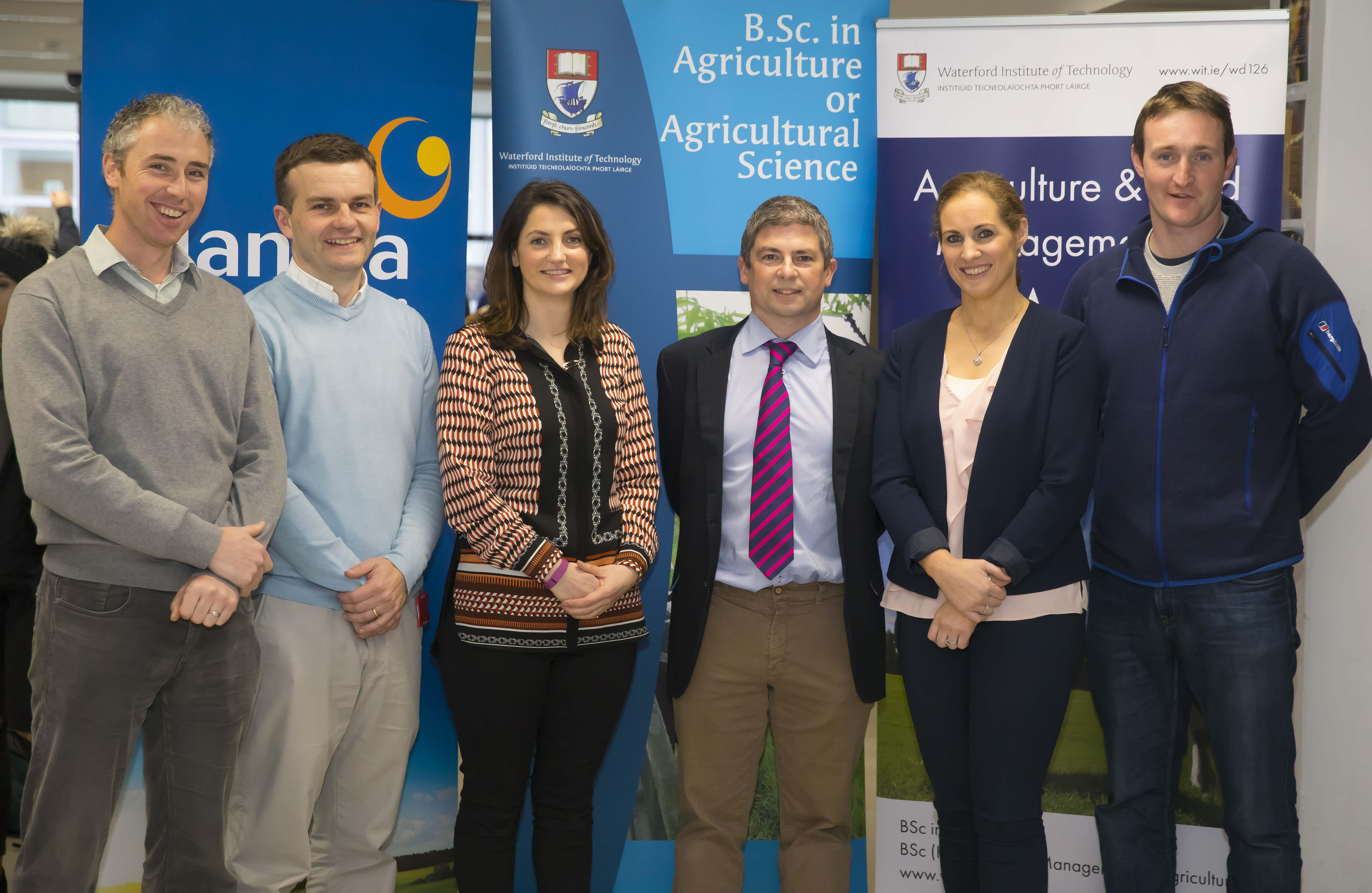 Dr Tony Woodcock, Course Leader for BSc in Agriculture, Dr Michael Breen, Course Leader for BSc (Hons) in Agricultural Science, Dr Siobhán Walsh, Work placement co-ordinator and Agricultural Science Association (ASA) council member, Dr Tim O'Donovan, Arvum Group, Mary Delaney, Glanbia and ASA President, Dr Bill Keogh, Lecturer in Agricultural Science