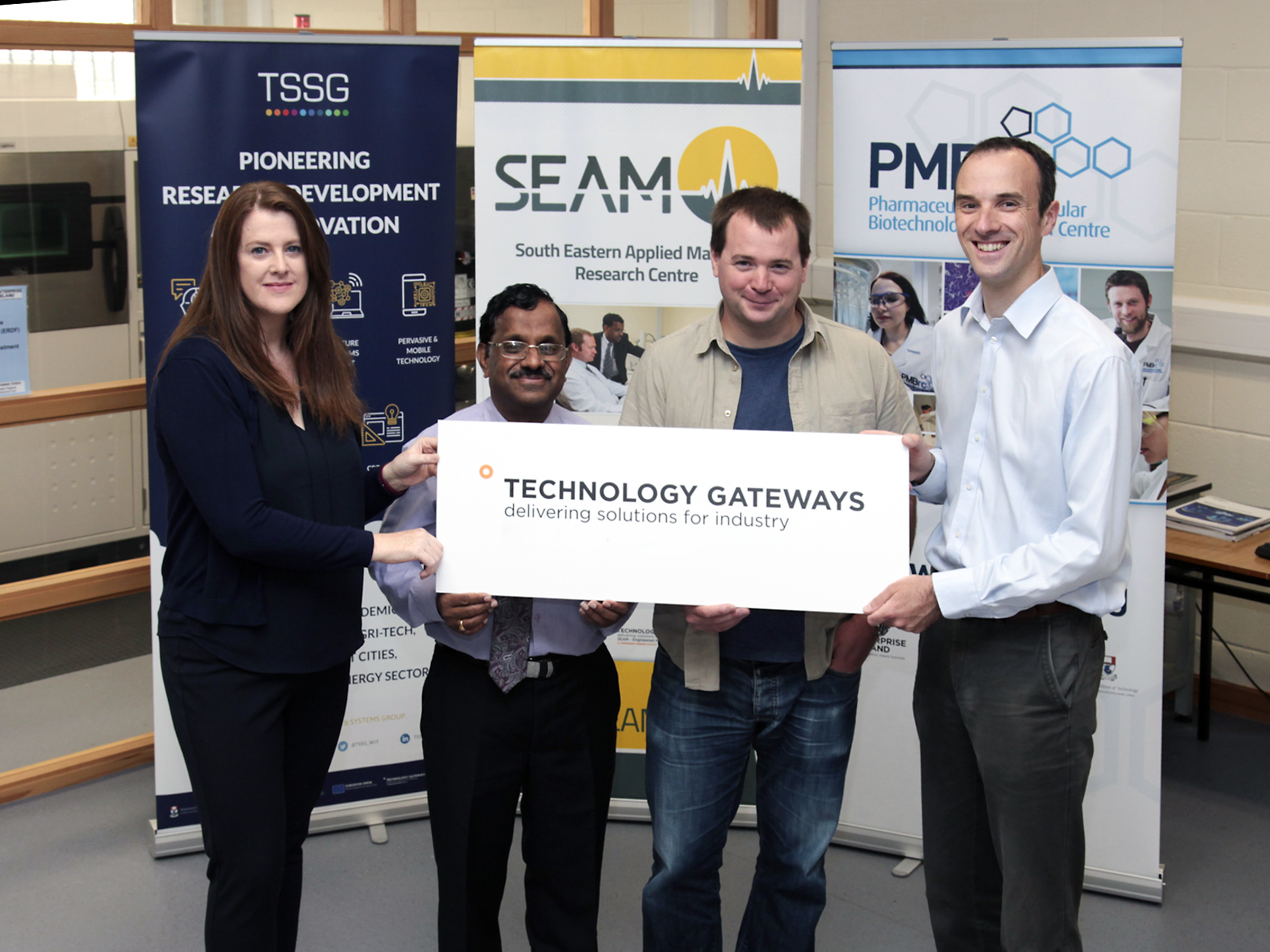 Pictured are representatives of WIT's three Tech Gateways. From left: Frances Cleary, MEPS Research Unit Manager at TSSG; SEAM Centre Director and Technology Gateway Manager Dr Ramesh Raghavendra; Jerry Horgan, infrastructure manager, TSSG; PMBRC Manager Dr Niall O'Reilly. Photo: George Goulding