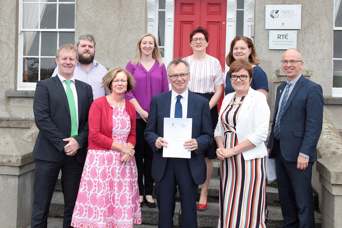Pictured from left: (front) Dr Stephen Fennell (EPA), Laura Burke (Director General, EPA), Prof Willie Donnelly (President of WIT), Lorraine Currivan (EPA), Dr Peter McLoughlin (Head of School of Science & Computing, WIT); (back) Dr Joe Murphy, Dr Andrea Bourke Dr Claire Keary (WIT), Dr Orla O'Donovan (Head of Department of Science, WIT). Photo: George Goulding