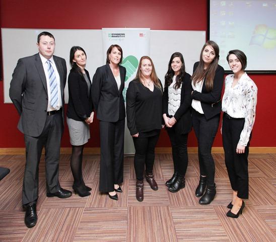 Staff Members of Enterprise Rent-a-Car photographed with members of the winning team Media Edge: Neasa O' Brien, Eibhlin O' Keeffe, Hazel McPartlan and Jenna Eustace