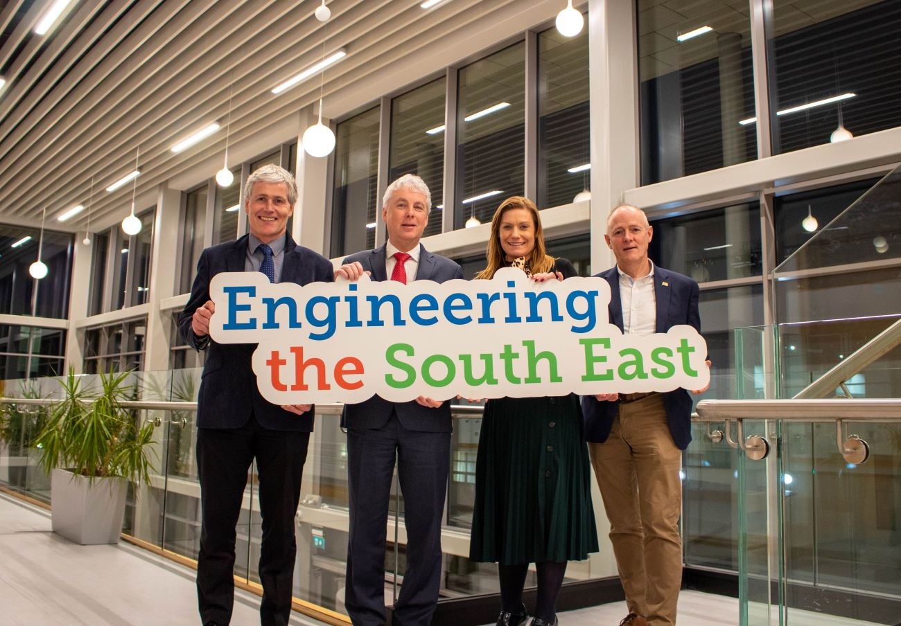 Pictured 'Engineering the South East' cluster group members. From left: Edmond Connolly, Manager, South East Regional Skills Forum; Dr Ken Thomas, Head of the School of Engineering, WIT; Dr Frances Hardiman, Head of Faculty of Engineering, IT Carlow; Michael Carbery Head of Innovation & Development Programmes with Keenan (Alltech Farming Solutions Ltd) and Chair of Engineering the South East.