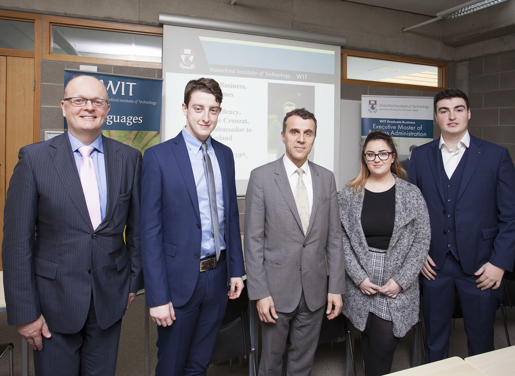 Pictured is the French Ambassador to Ireland, His Excellency Stephane Crouzat, with staff and students