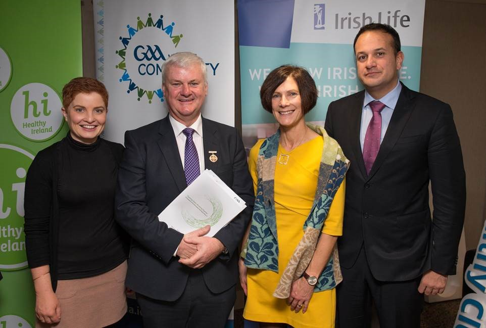 Pictured from left are Dr Aoife Lane, GAA President, Aogán Ó Fearghail, Minister for Health, Leo Varadkar and Dr Niamh Murphy at the launch of the 'Opening Gates, Breaking Stigmas' report