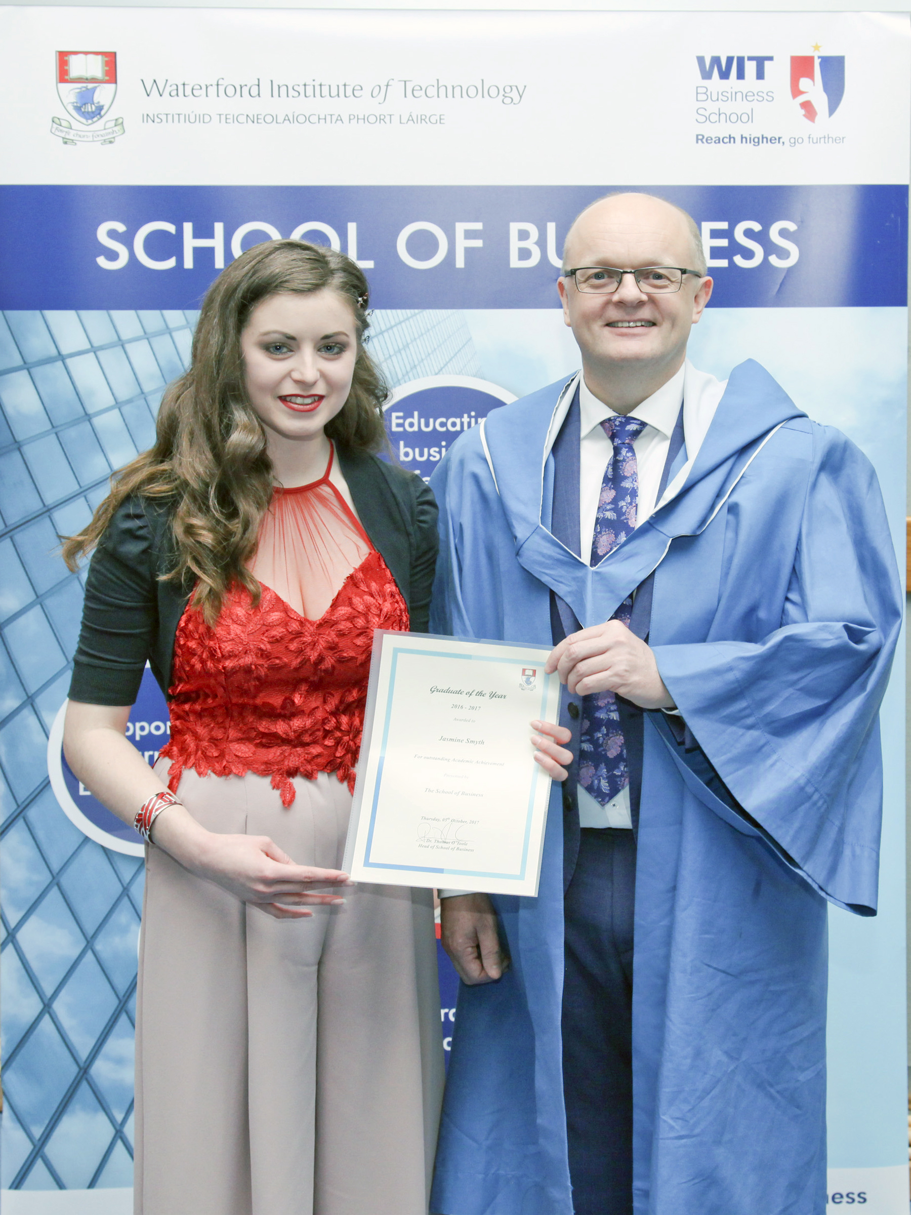 Pictured is graduate of the year 2016/2017 Jasmine Smyth