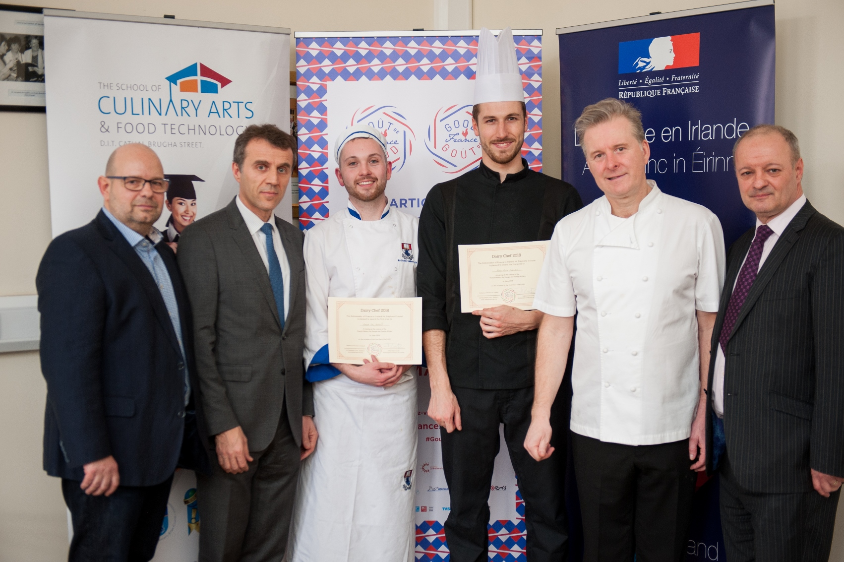 From left to right: Guillaume Lebrun, Chef at Michelin-Starred Restaurant Patrick Guilbaud; H.E. Stéphane Crouzat, Ambassador of France to Ireland; Derek McClelland, WIT winner; Pierre-Louis Delacroix, Cergy-Pontoise University winner; Ross Lewis, Chef at Michelin-starred  Chapter One Restaurant; Frank Cullen, Head of School of Culinary Arts at DIT