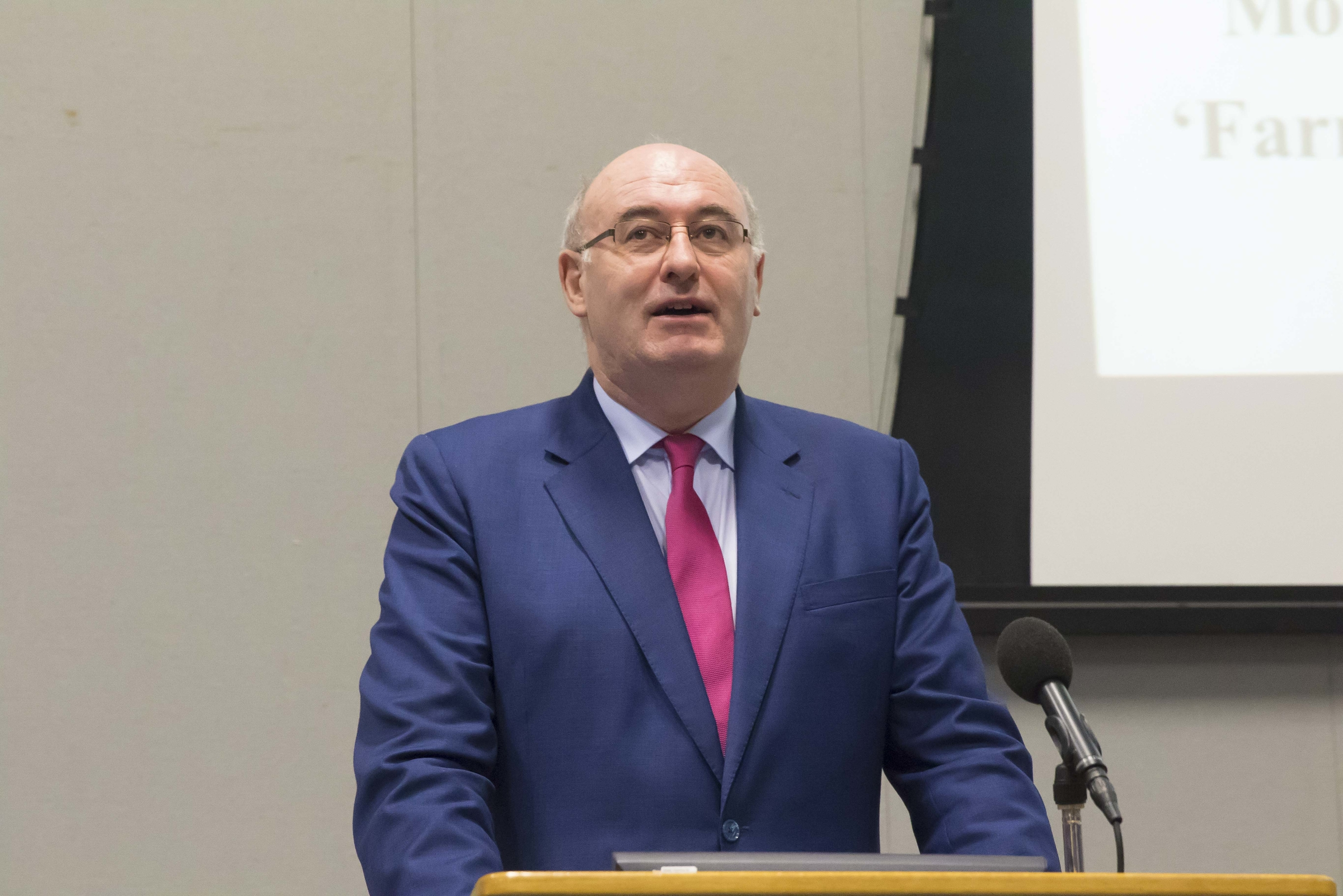 Pictured is EU Commissioner Phil Hogan addressing students from the School of Business in December 2015
