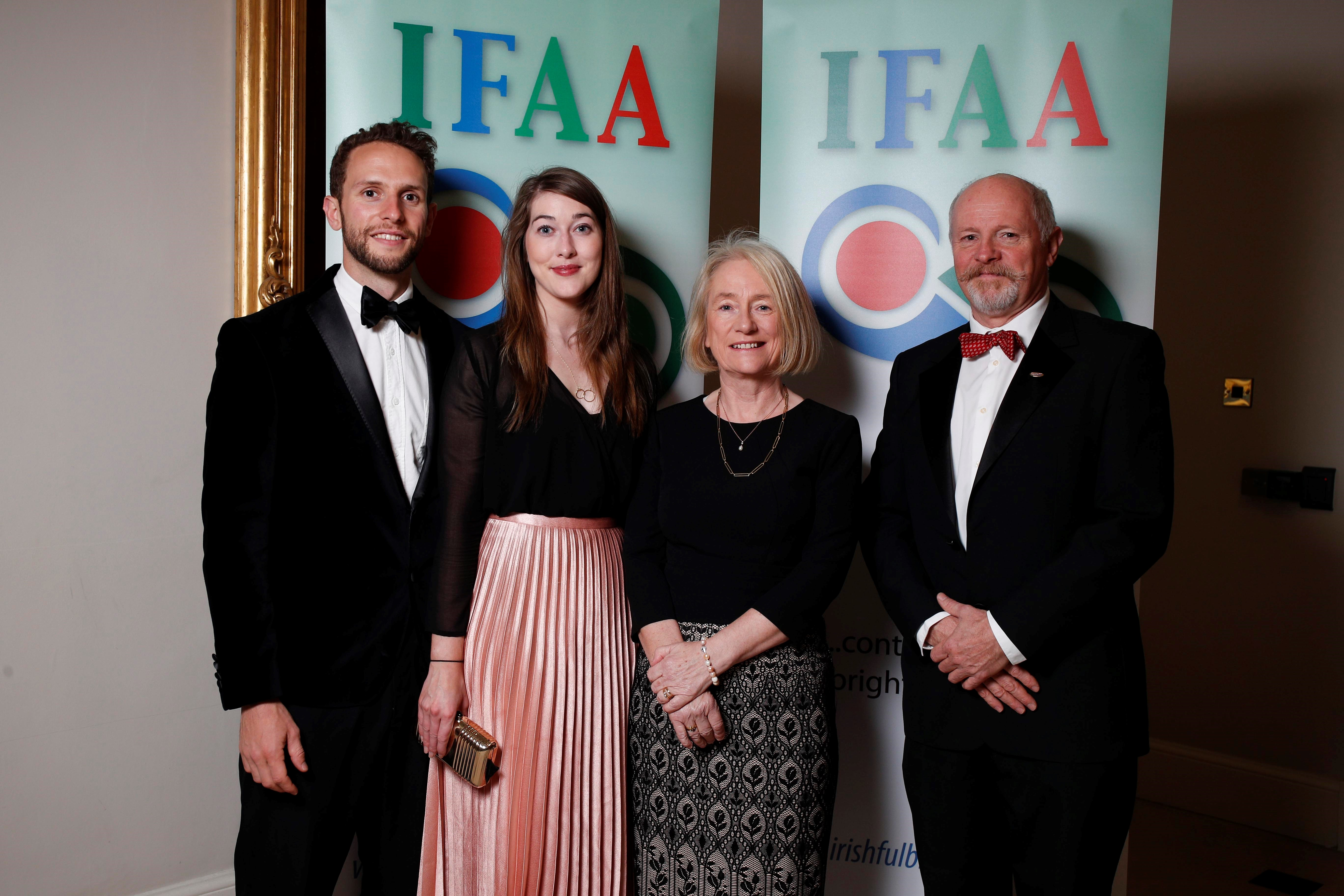 James O'Brien Moran, Rebecca Kilbane, Dr Marie Burke and Dr Jimmy O'Brien Moran at the IFAA Scholars' Dinner in Dublin Castle. Former president of the IFAA, Jimmy received the Fulbright Medal of Honour for his work with the association.