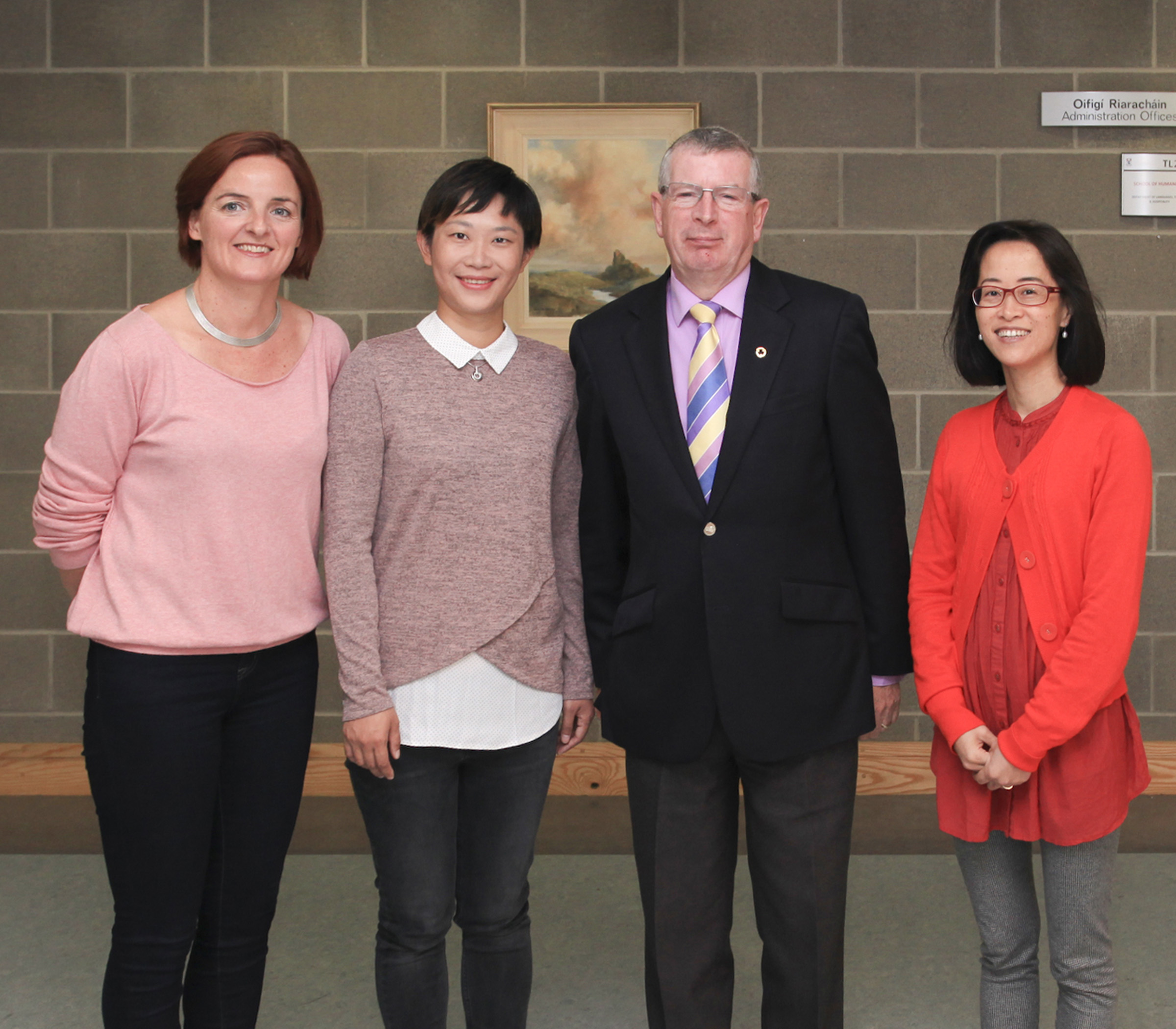 WIT staff Anne-Marie Lally, Ray Cullen and Hellen Kang Griffith welcome SIT scholar Xia Ying