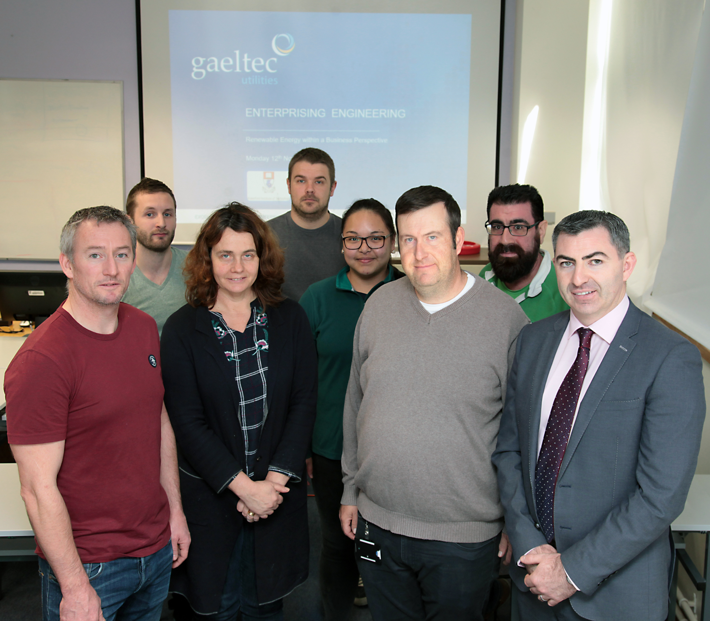 Pictured from left are:Stephen Sullivan, Siobhan Wall, Jason O'Riordan, Declan Wynne, From Left: Back Row: Kieron Smith, Killian McGrath, Dana Adriano & Jonathan Lowe.  Photo by: George Goulding WIT