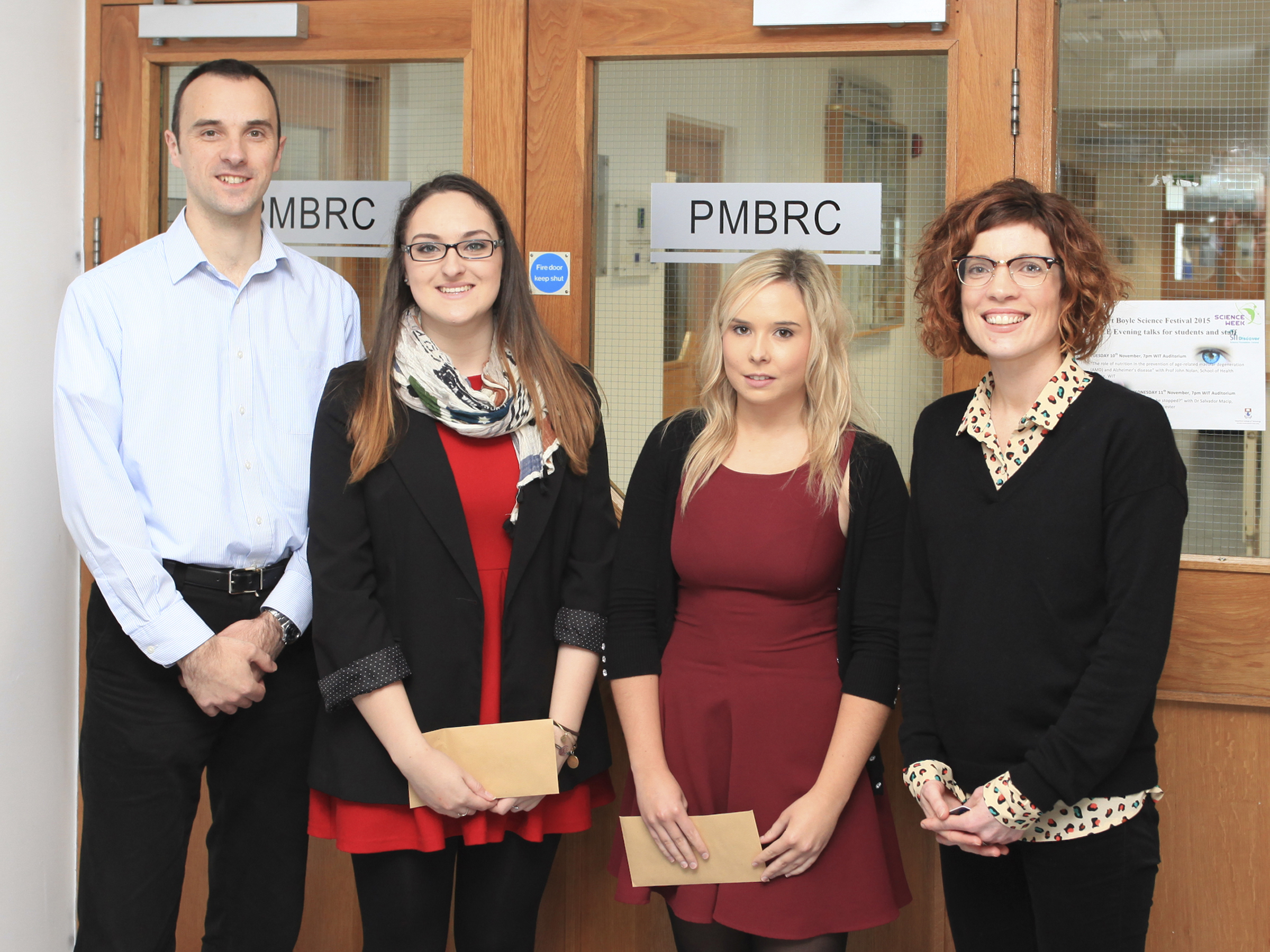Pictured from left are Dr Niall O'Reilly Centre Manager, Pharmaceutical and Molecular Biotechnology Research Centre at WIT, Anna Walsh, Shannon Lacey, and course leader Claire Lennon