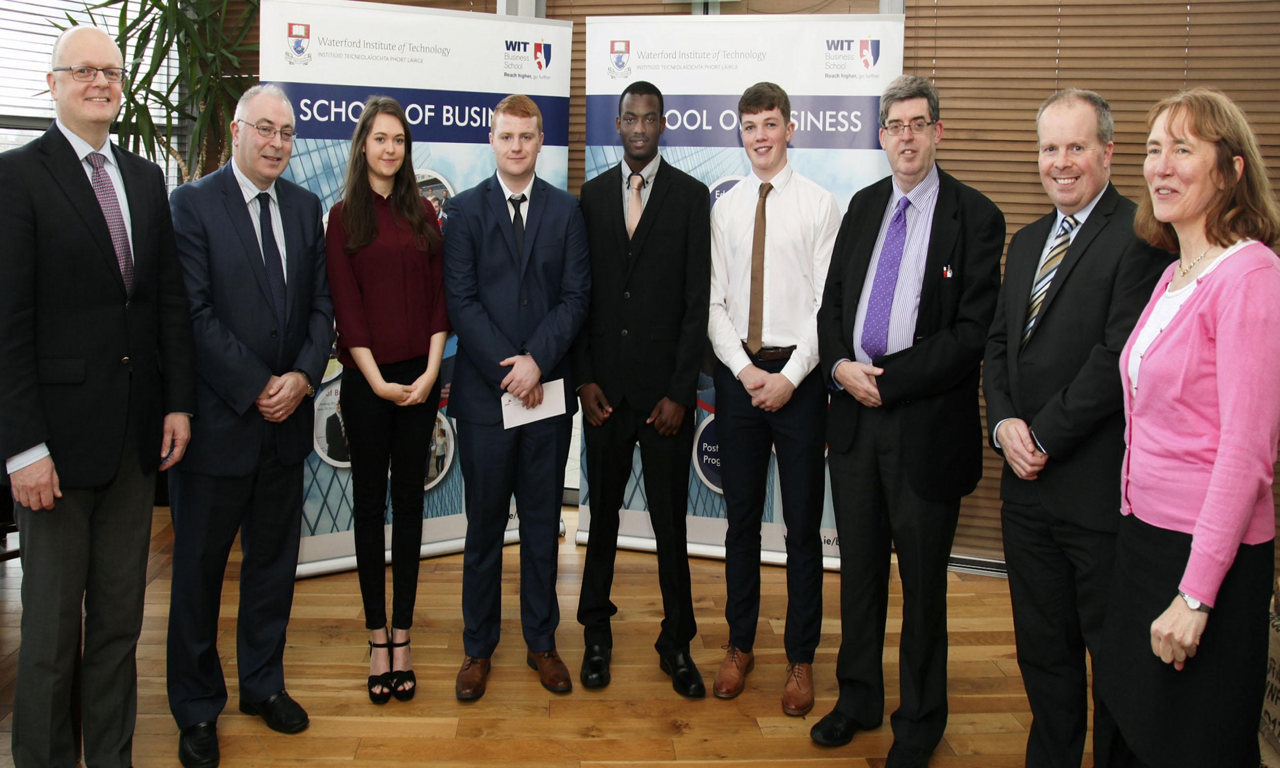 Presentation by Martin Freyne (PWC) to the Award recipients. From left: Dr Thomas O'Toole (Head of School (Dean) of Business, Dr Thomas O'Toole), Martin Freyne (PWC), Louise Honey (Merit Award), Noel Whelan (Scholarship Recipient), Mury Idris (Merit Award), Nick Byrne (Merit Award), Ger Long (Head of School), Paul Treacy (Programme Leader), Rosemarie Kelly (Lecturer in WIT)