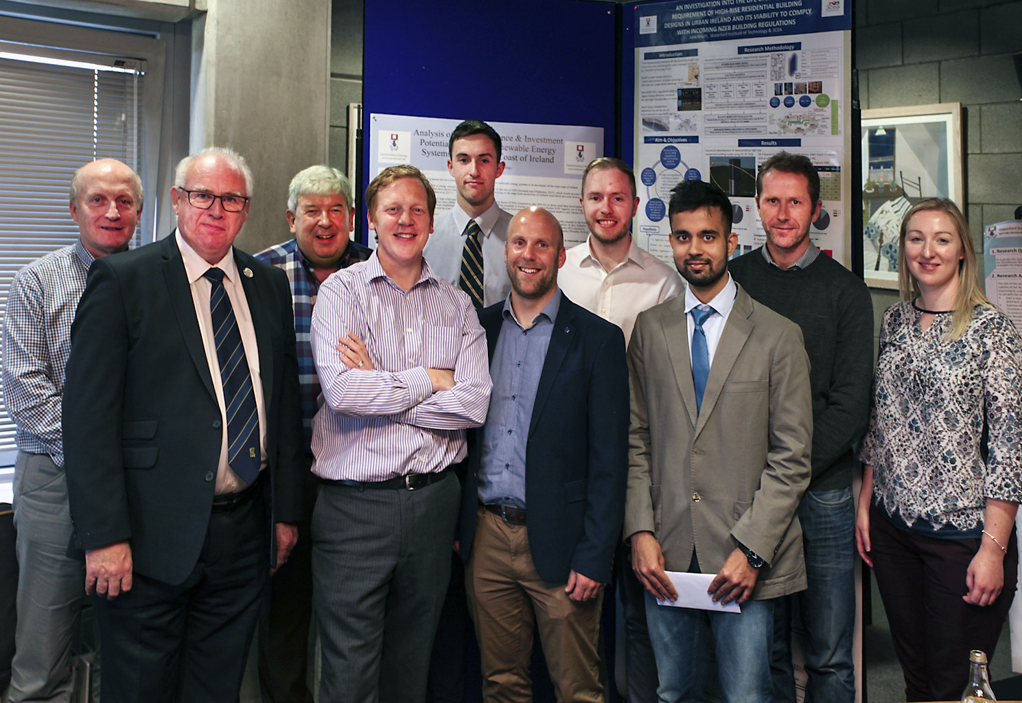 Pictured are Billy Rowsome (Lecturer, WIT), Micheal McNerney (Heat Merchants), James Stack (award runner-up), Paul Martin (CIBSE), Mervin Doyle (Programme Leader, MSc in Sustainable Energy Engineering, WIT), John Smyth (award winner), John Gillespie (award runner-up), Lakshya Sharma (award 2nd place), Colm Tynan (Lecturer, WIT), Dr. Andrea Bourke (Lecturer, WIT).