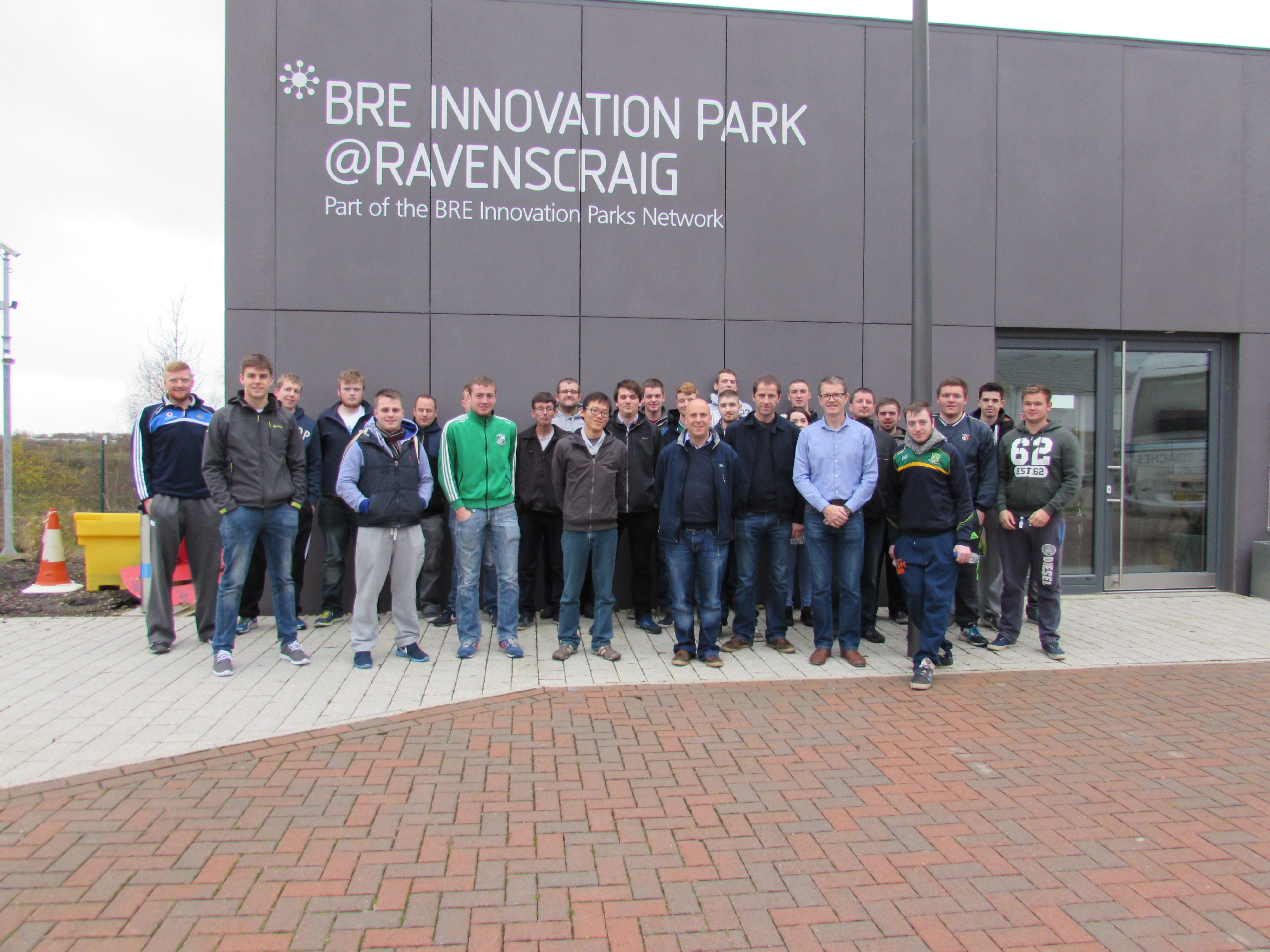 Students & Staff outside the Building Research Establishment (BRE) Innovation park, Scotland