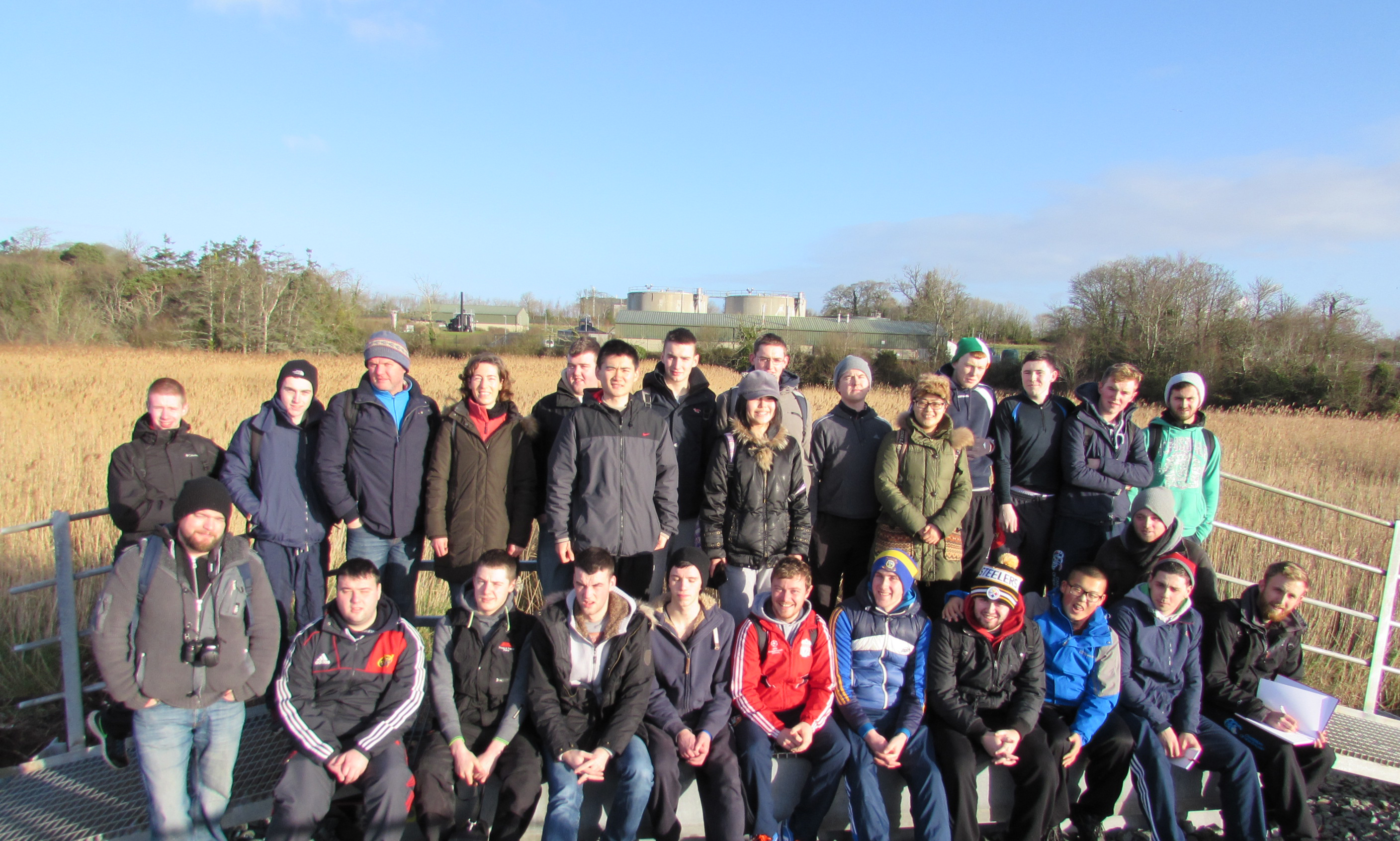 First and second year Construction Managment, Quantity Surveying and Civil Engineering students, along with lecturers John Carney, Tomás O'Donoghue and Susan Gallagher