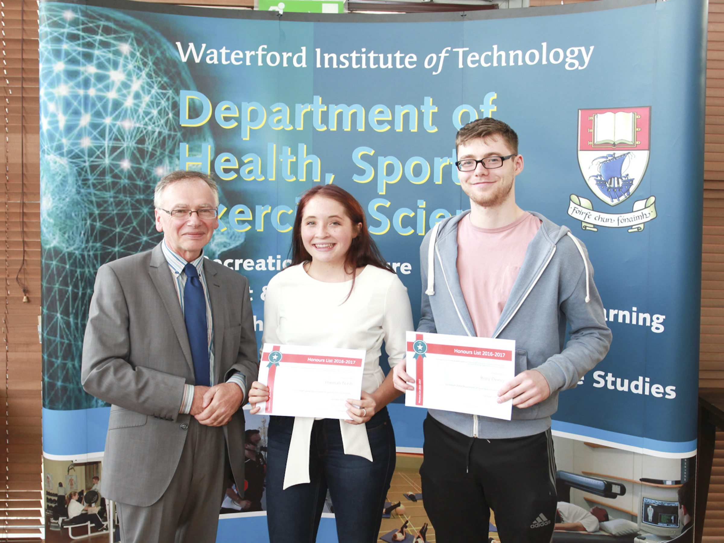 From Left: Professor Willie Donnelly, President of WIT; Hannah Nash, and Rory Deevy Photo:George Goulding WIT