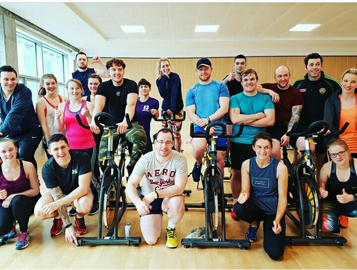The DHSES group who completing the Spin Instructor course