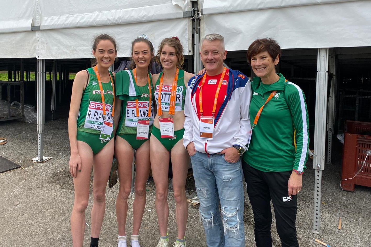 Niamh is pictured (far right) after the race in Lisbon along with the scoring members of her Irish team, Roisin Flanagan, Eilish Flanagan and Stephanie Cotter along with Gert Ingebritsen, coach and father of the famous Norwegian Ingebritsen brothers Jakob, Filip and Henrik.
