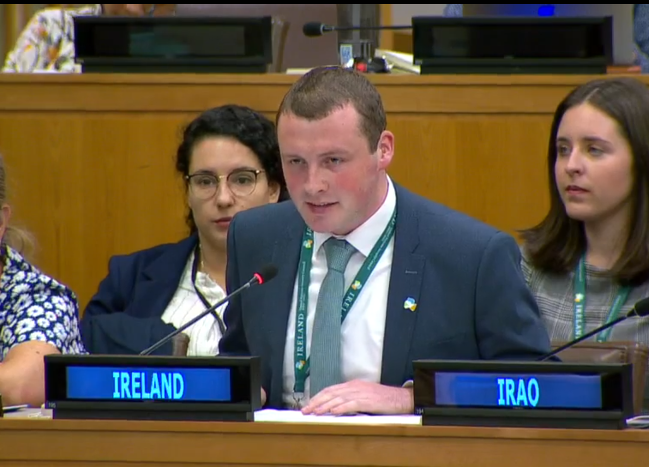 Jamie Moore addressing the UN in New York