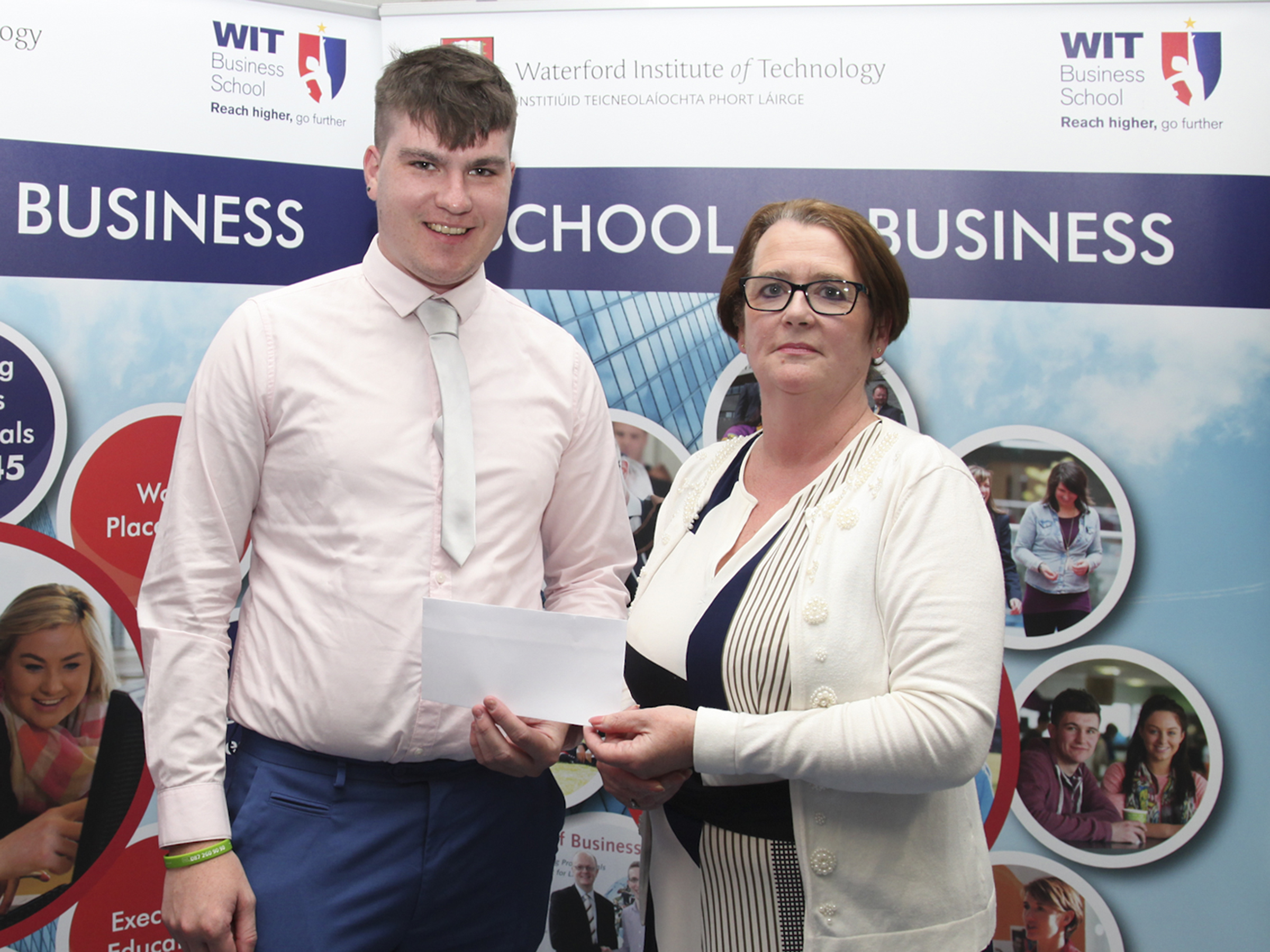 Pictured is the recipient of the John Hume Combined Credit Union Scholarship, Mr Sean Walsh. Linda O Kane presented the Scholarship on behalf of the Combined Credit Unions