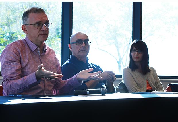 John Wells at Lamar University, Texas, alongside Andy Coughlan and Maria Elena Sandovici