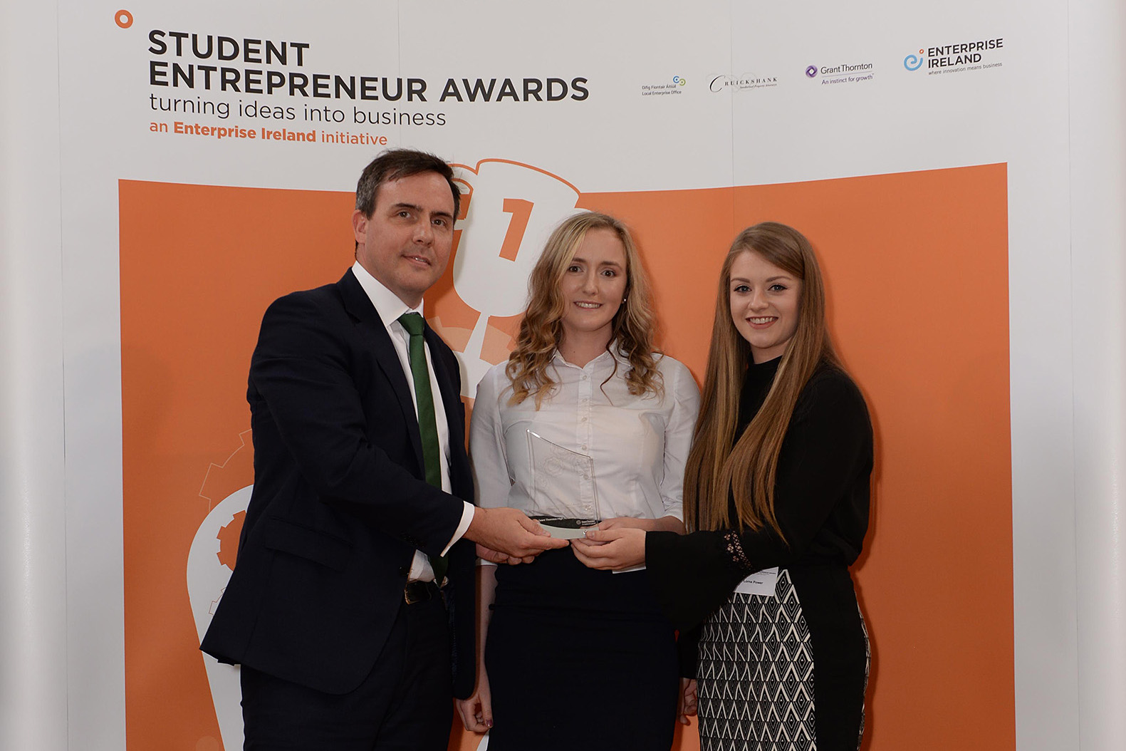 Pictured with Kevin Foley, Grant Thornton are Emma (centre) and Lorna (right)