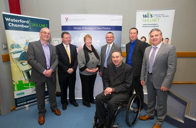 l-r:  Noel Hennessy, Jim O' Neill, Anne McNeely, Professor Peter Hines, Shane Maher, Darrin Taylor and Aidan Walsh