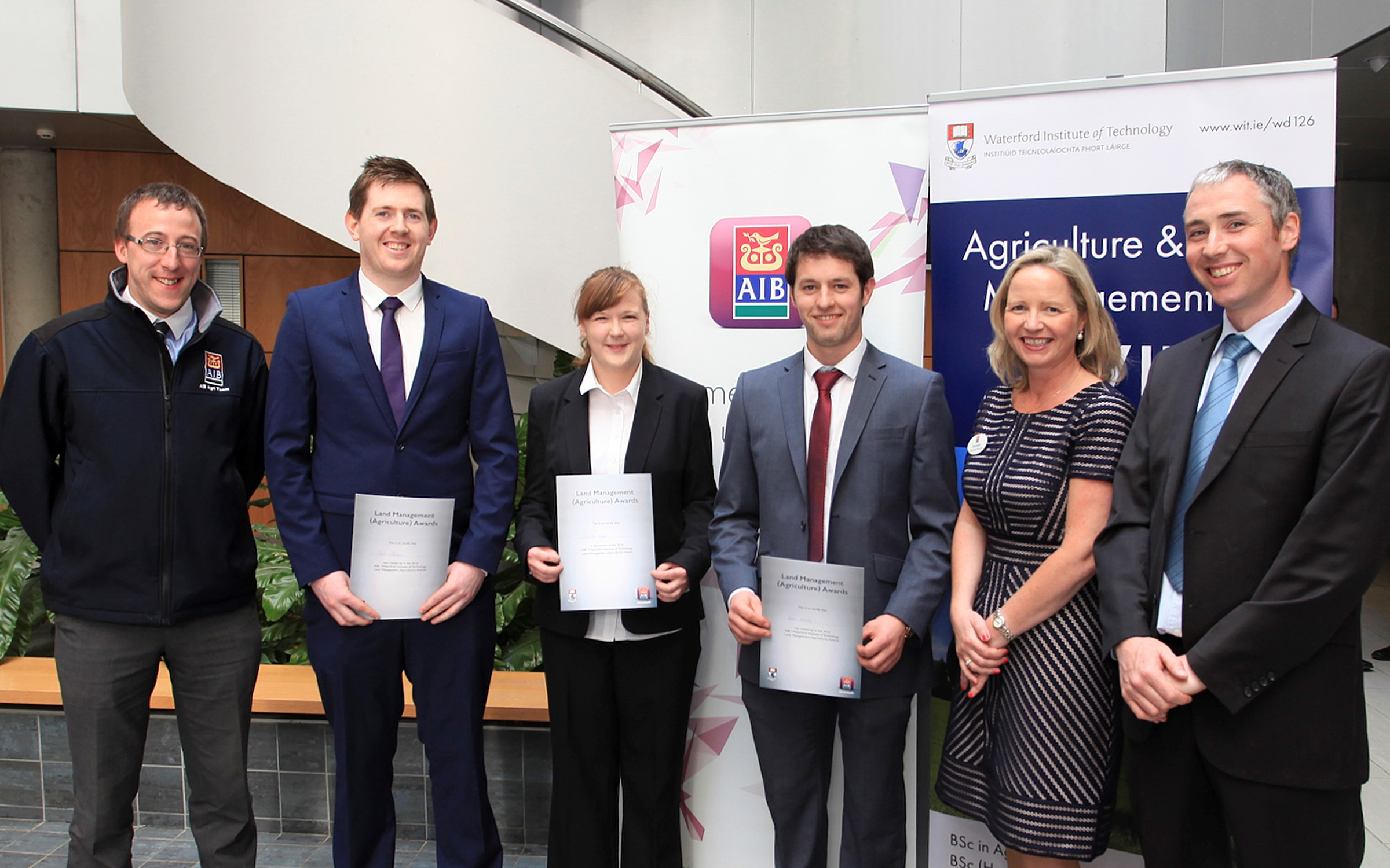 Pictured at the inaugural AIB Land Management (Agriculture) Awards in Waterford IT were Shane Whelan, AIB Agri Team; Joe Mannion, Galway (Second runner-up); Brian Crowley, Cork (First runner-up); Charlotte English, Tipperary (Overall Winner); Noelle Chambers, AIB Waterford IT Branch and Dr. Tony Woodcock Agri Science WIT