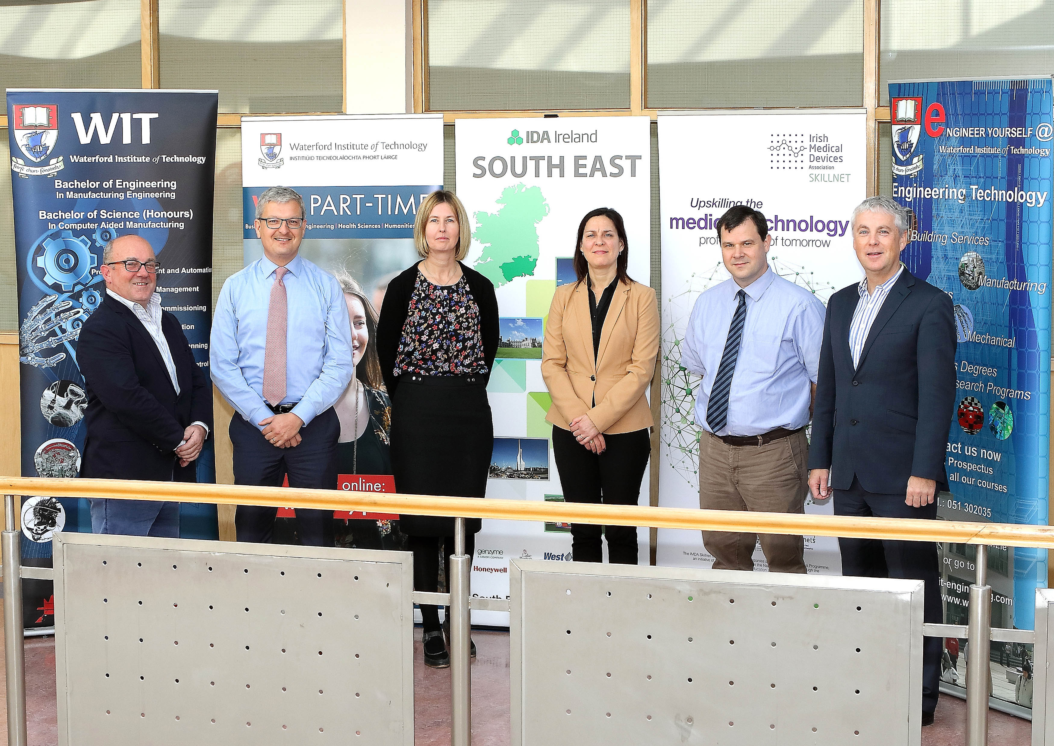 Pictured at the launch are, from left: Albert Byrne, Engineering Technology WIT; Neil Quinlan, Lifelong Learning WIT; Fiona Lonergan, IDA South East; Michelle Reinecke-Quain, IMDA; Con Quinlan, INTREO/DoSP; Ken Thomas, WIT School of Engineering