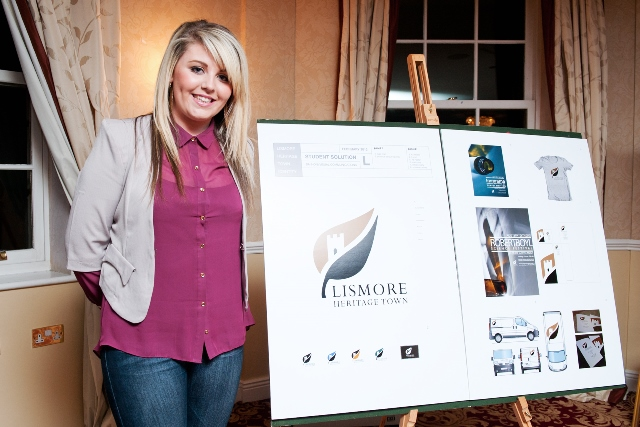 """Laura Keane, student on the BA (Hons) in Design (Visual Communications) at WIT, takes first place in """"Brand Lismore"""" competition"""