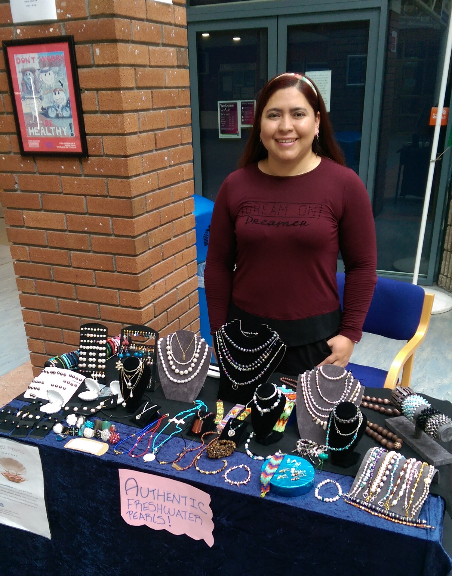 Bachelor of Business student Laura Diaz, and her new business venture, Shell Pearl Jewellery