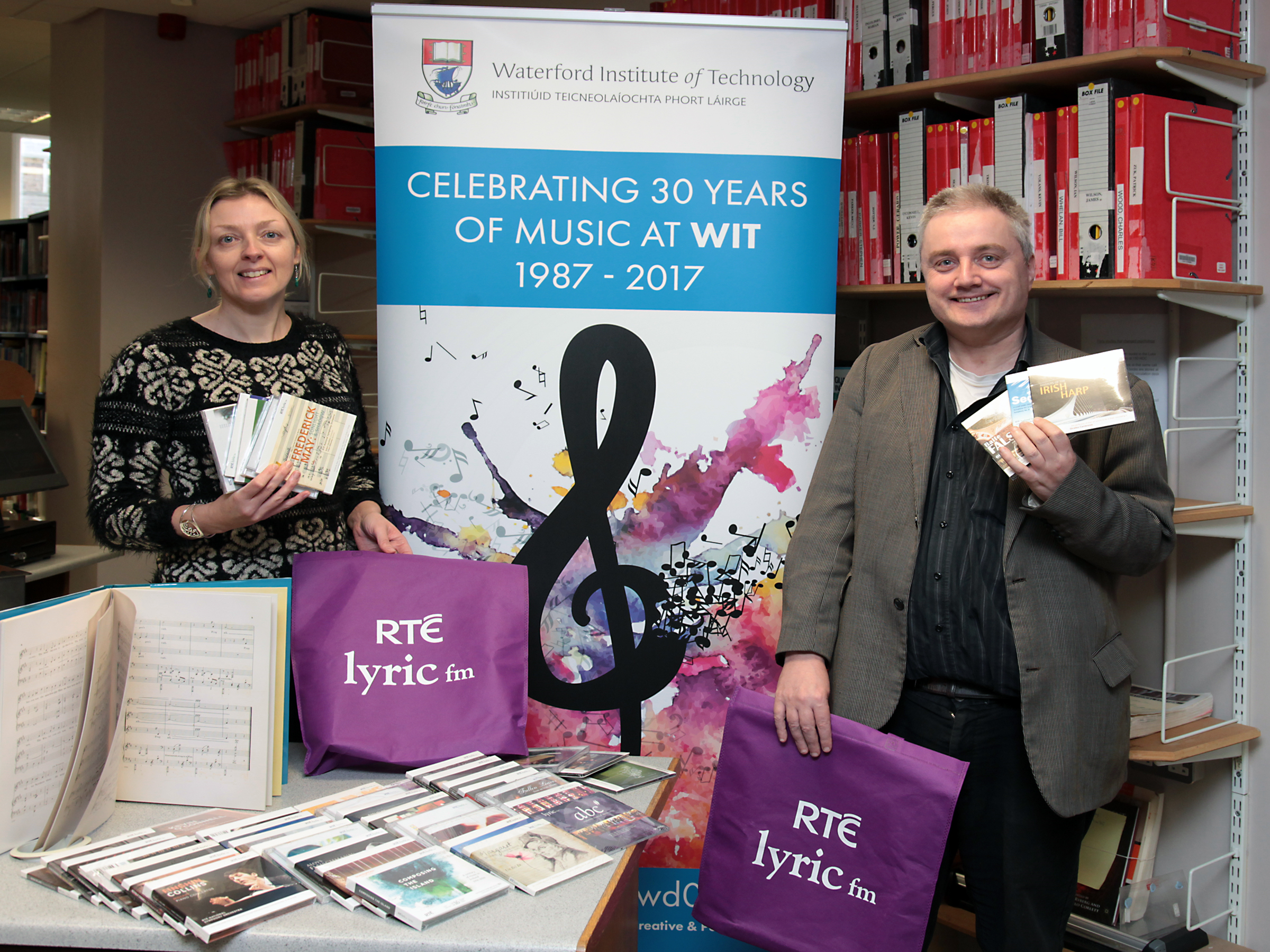 Pictured are Dr. Hazel Farrell and Neill Darby, College Street Library