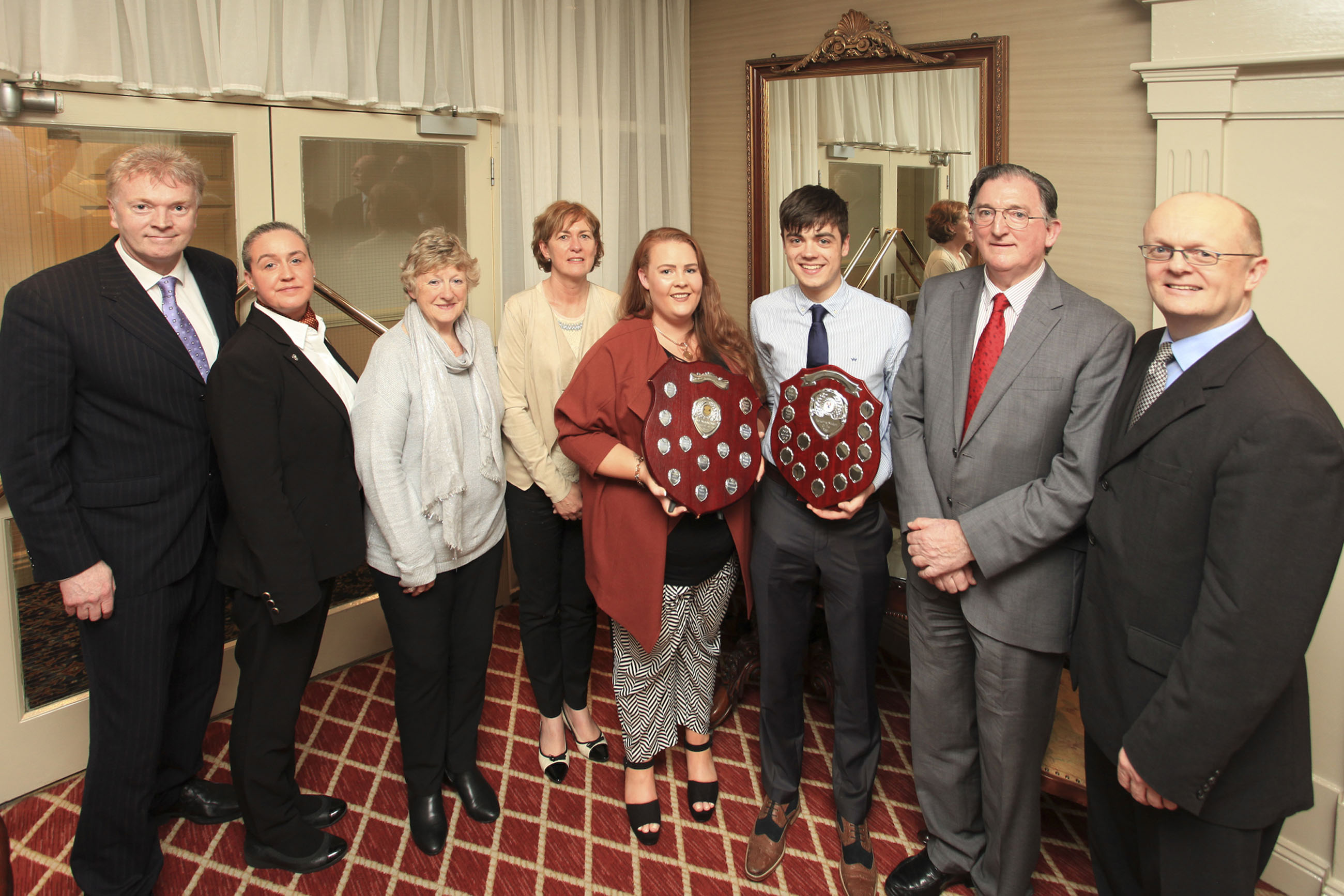 Pictured from left are WIT lecturer Denis Harris, Granville Hotel proprietors Jackie Cusack, Ann Cusack, WIT Head of Department of Management and Organisation Joan McDonald, winners Neasa O'Brien and Dale Kervick, Liam Cusack of the Granville Hotel, Dr Tom O'Toole, Head of the School of Business at WIT