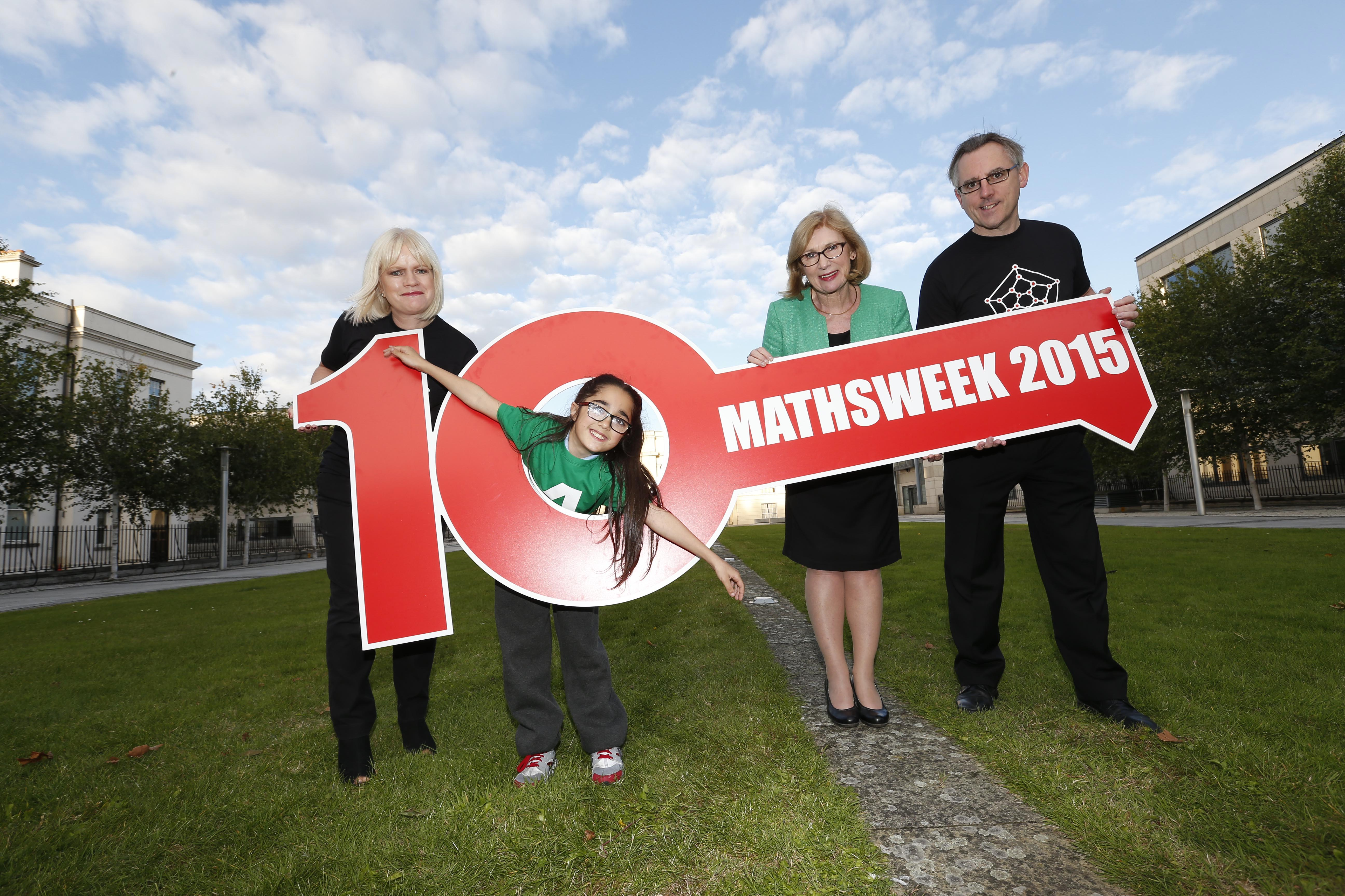 Pictured at the launch of Maths Week Ireland were Sheila Donegan Maths Week and Minister for Education and Skills Jan O'Sullivan TD with Eoin Gill Maths Week and maths pupil Sheyma Hudson.