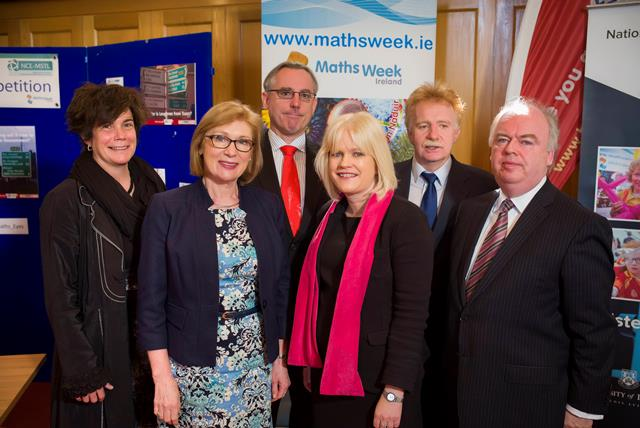 Minister Jan O Sullivan with Sheila Donegan and Eoin Gill from Calmast at the 'Maths Eyes' prizegiving