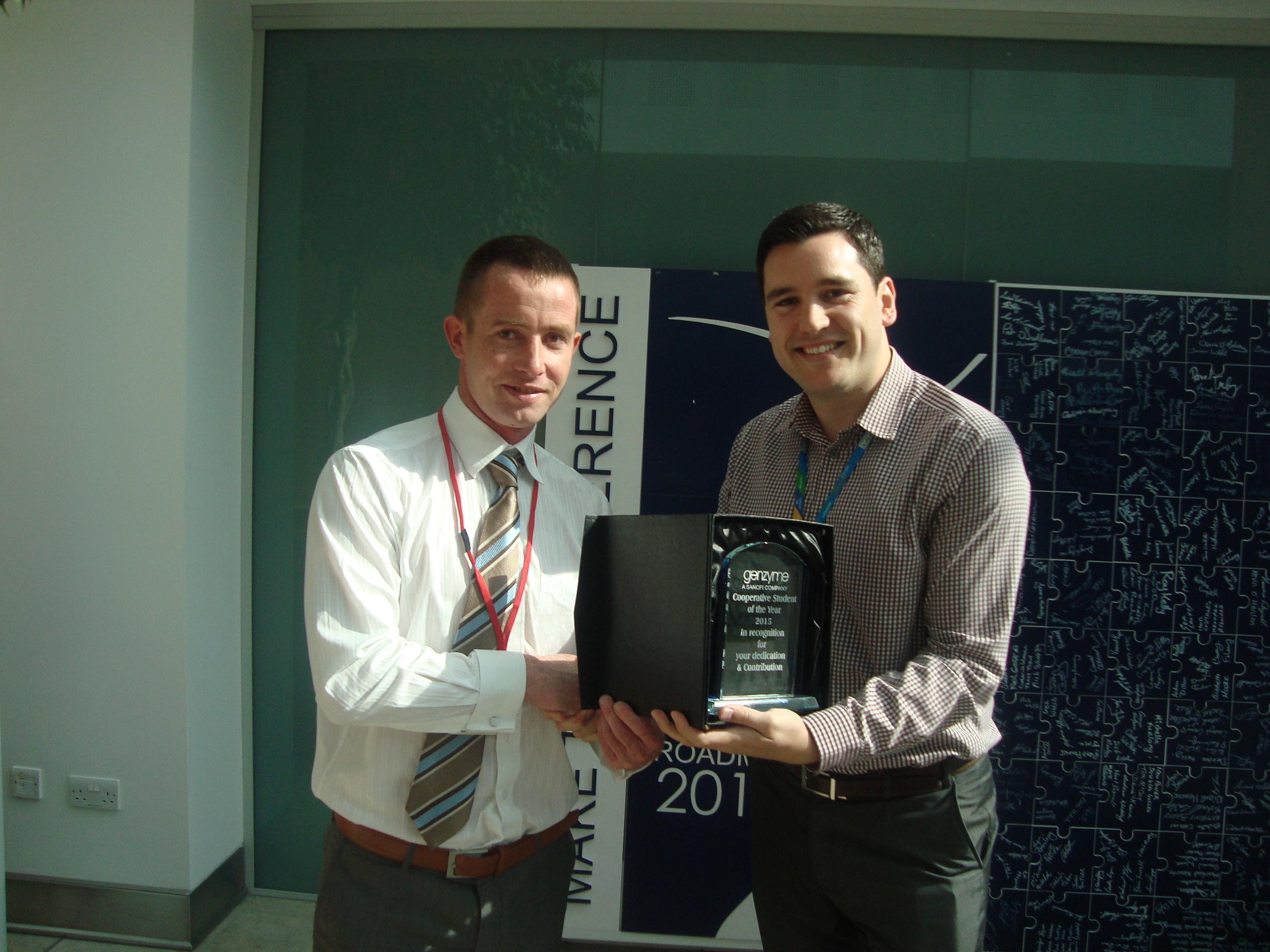 Pictured from left is WIT student Maurice Foley receiving his award from Stephen Rose Human Resources Business Partner at Genzyme