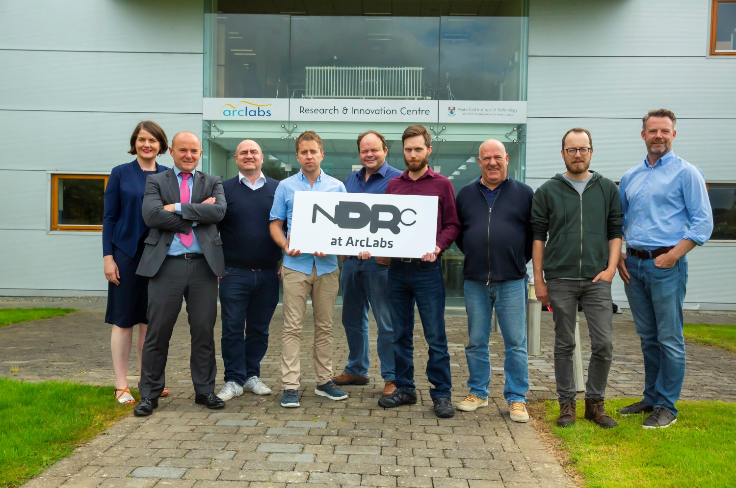 From left: Aisling O'Neill, Manager at ArcLabs; Feargal Duignan, PacSana; Alex Martin, Miura; David Hogan, Smartflow; Aidan Foley and Samuele Santi, Raceix; Fergal Dearle, Stackolater; Rob Ross, Hippo; Niall Larkin, NDRC. Image: Patrick Browne/Brownes Photography