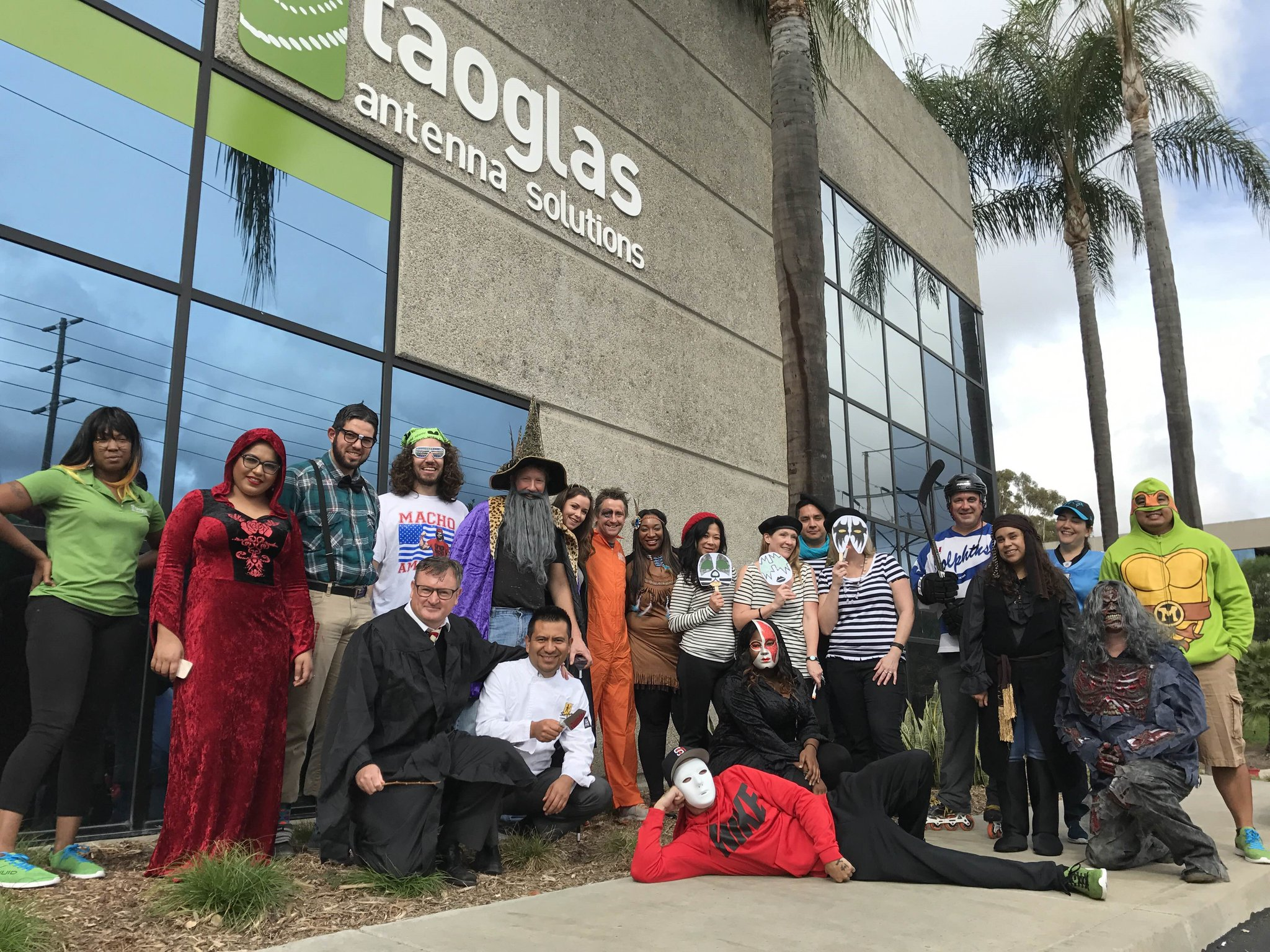Dermot O'Shea in San Diego where Taoglas USA is Headquartered with staff at Halloween