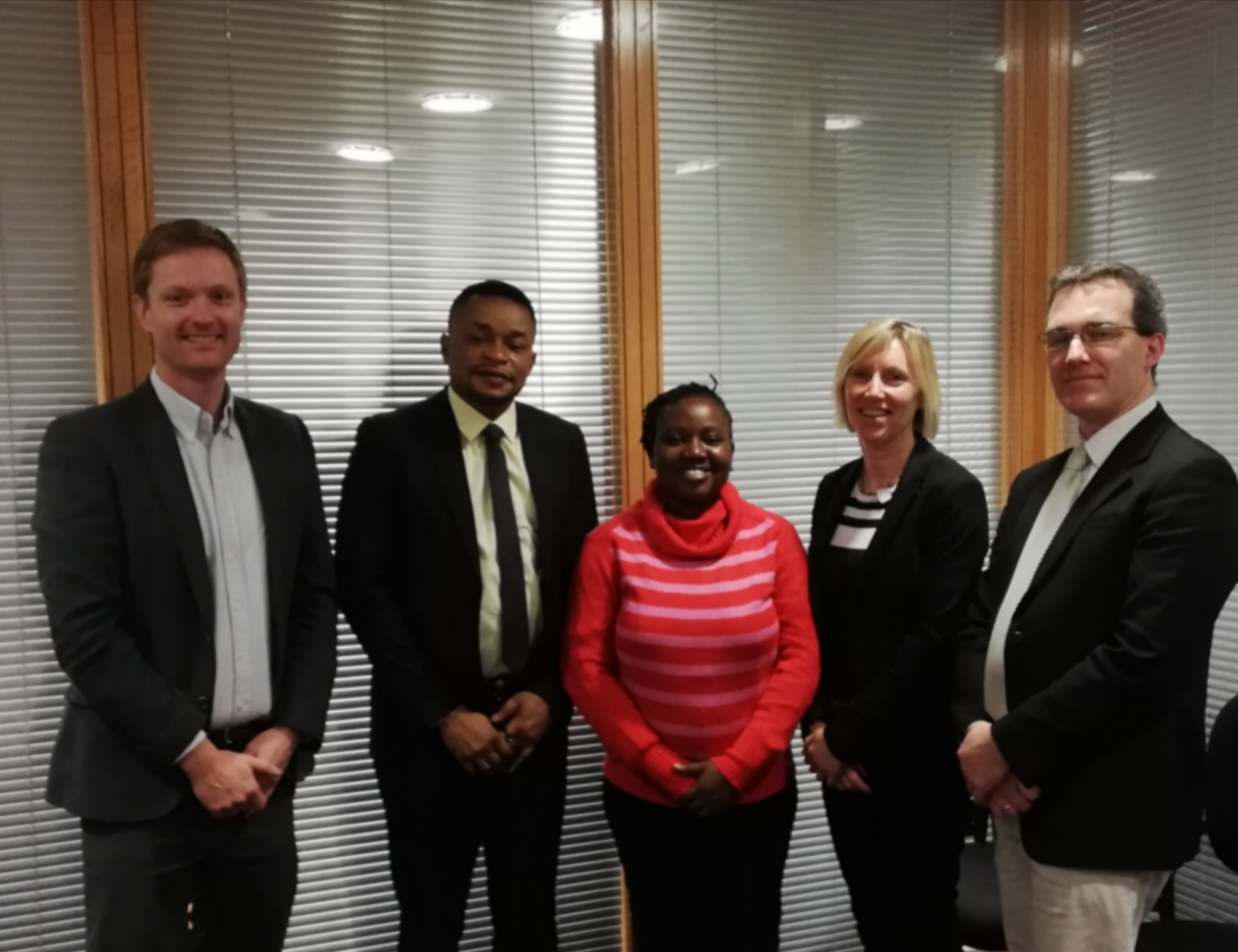 Pictured are: Dr. Derek Sinnott, Head of Department of Built Environment, Mr. Jude Akporumeta, Riabisel Ltd., Ms. Damilola Oladejo, Champions Pitch Consulting, Ms. Sinead Day, International Affairs Manager, Dr. Philip Walsh, School of Engineering