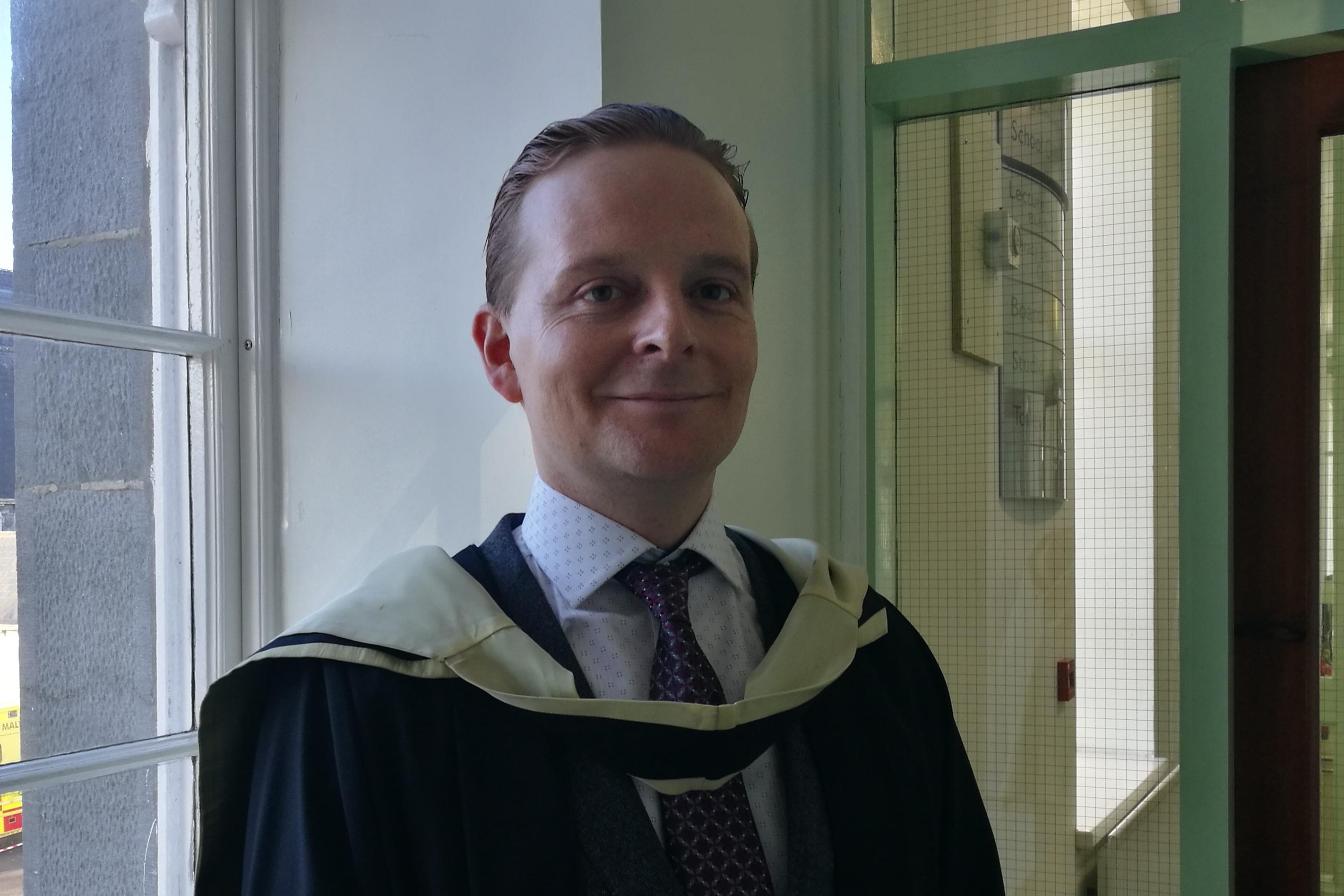 Oliver Lehane on graduation day 2017