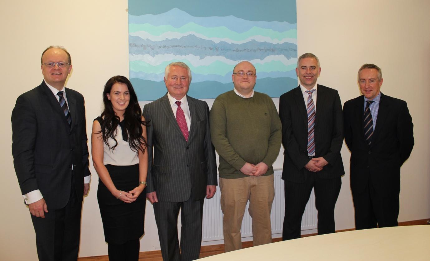 Award Recipients, Laura O'Brien & Leon Behal with Sam McCauley, Chairman of Sam McCauley Group