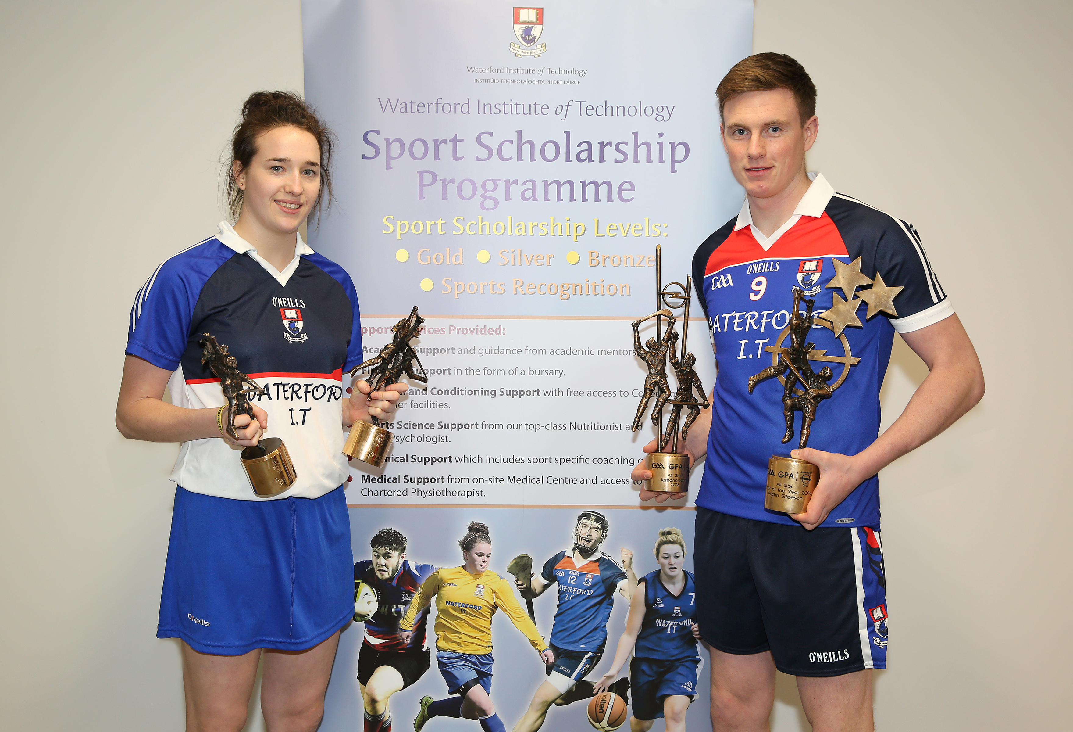 WIT Sports Scholarship student and 2016 Senior Hurling Player of the Year Austin Gleeson along with Camogie Player of the Year Denise Gaule
