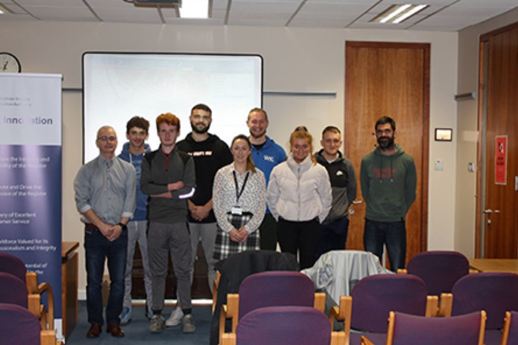Pictured from left are: Eoin Hughes PRAI Digital Mapping Office (DMO), Patrick Flavin student, Ciaran Dwyer student, Andrew White student, Emma Brent PRAI Corporate Services Manager Waterford, Kevin Fitzgerald student, Grace Roche student, Killian Phelan student, and John Frister student.