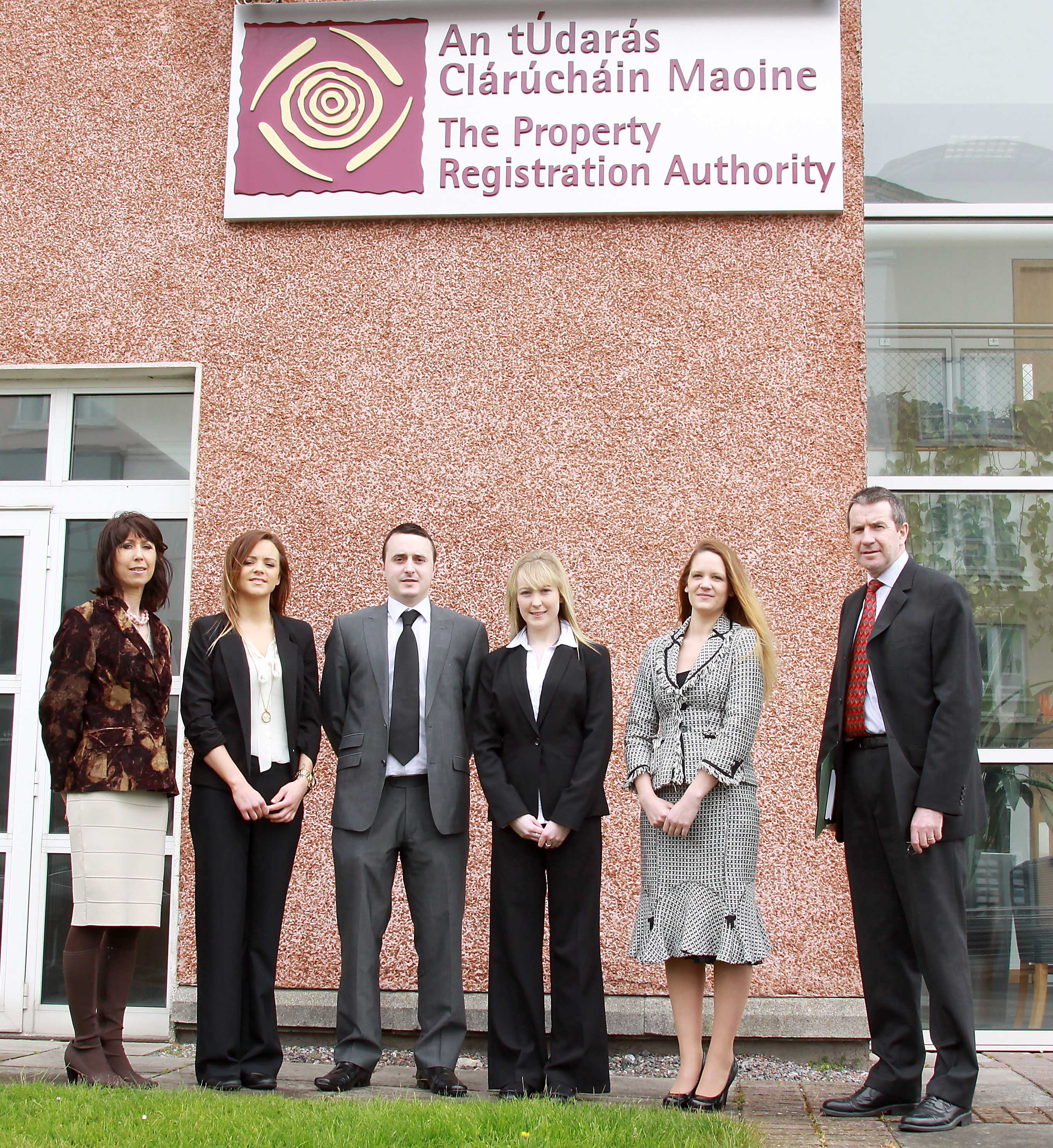 From L to R: Carmel Brennan, Lecturer, Sinead Hogan, Adam Duggan, Tanya Kavanagh, Deirdre Walsh (Students) and John O'Carroll, Higher Executive Officer PRA