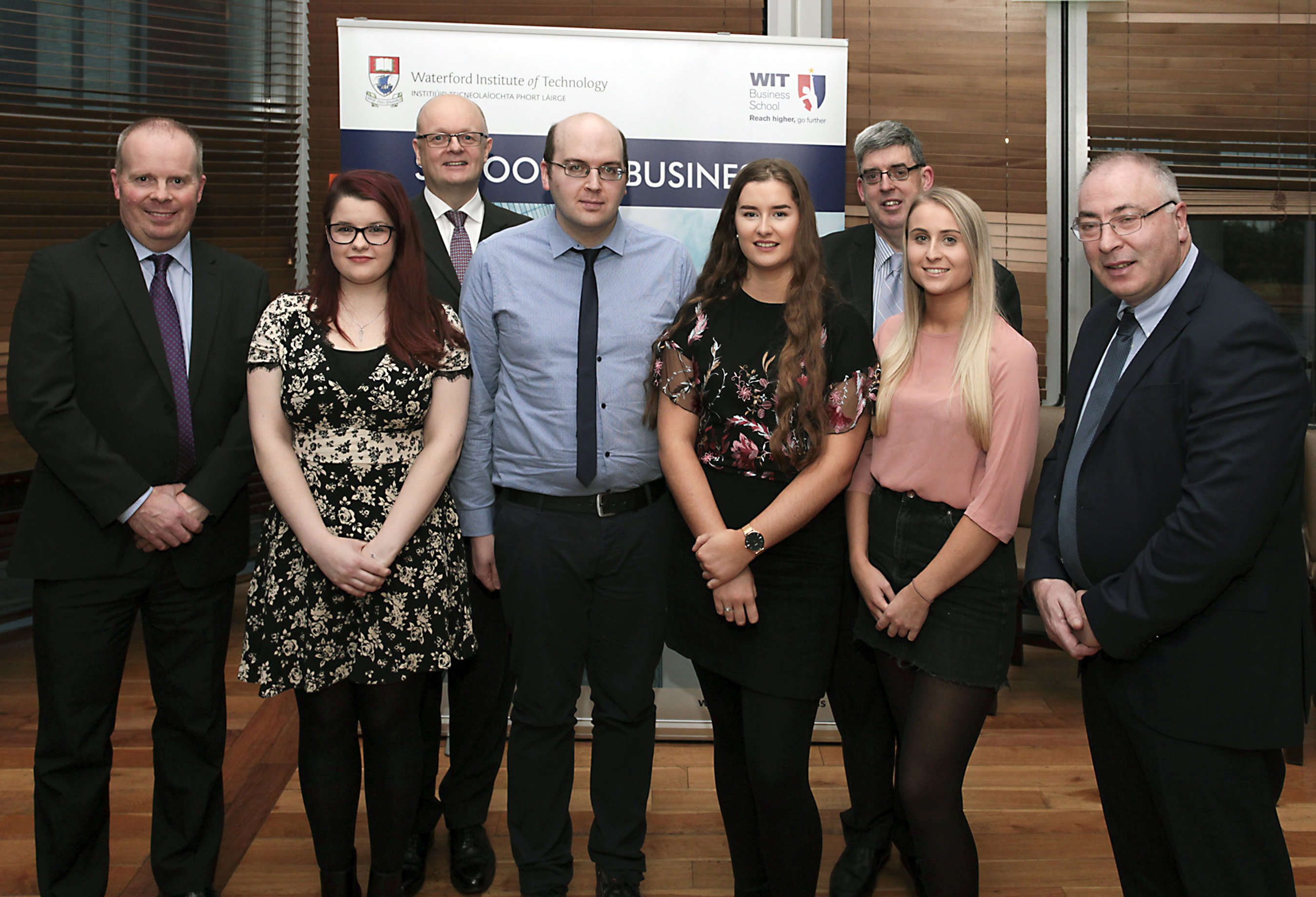 Pictured: Paul Treacy, Programme Leader; Heather Duff White, PWC 2018 Student Bursary Winner; Dr Thomas O'Toole, Head of School of Business; Conor Duff, Merit Award winner; Sarah Grace, Merit Award winner; Ger Long, HOD Accounting & Economics; Oonagh Bowe, Merit Award winner ; Martin Freyne, Regional Manager PriceWaterhouseCoopers