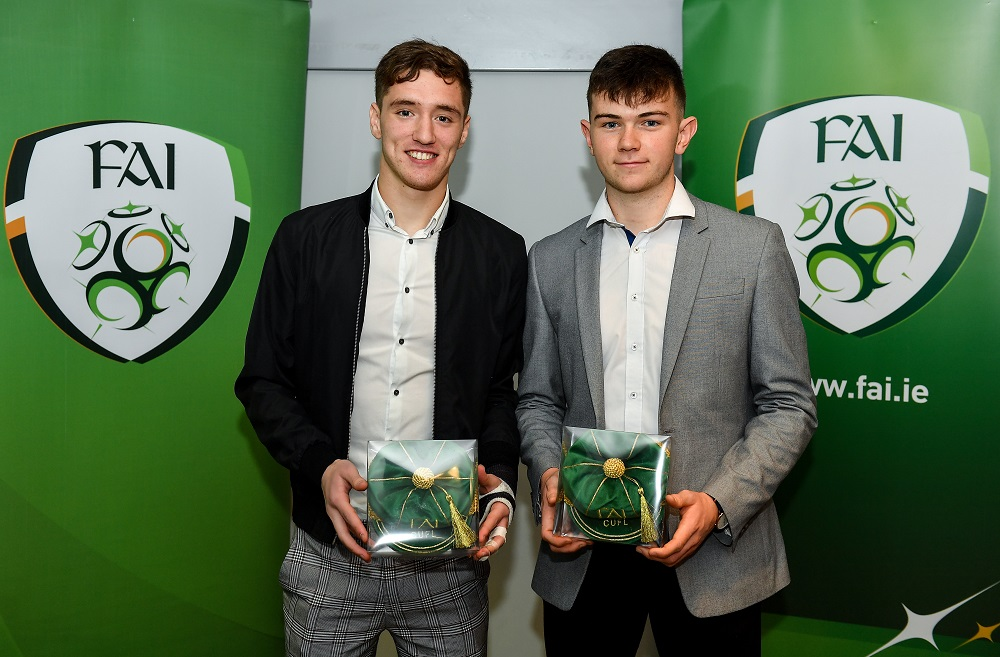 Paul Martin and Darryl Walsh received their Irish University caps for the 2018/2019 season at a ceremony in the Aviva Stadium during the national teams friendly vs New Zealand