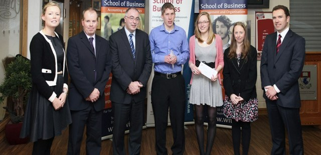 Recipients of the PwC Scholarship 2012. Martina Curtin, Martin Freyne & Brendan O'Neill of PwC; Paul Treacy of WIT